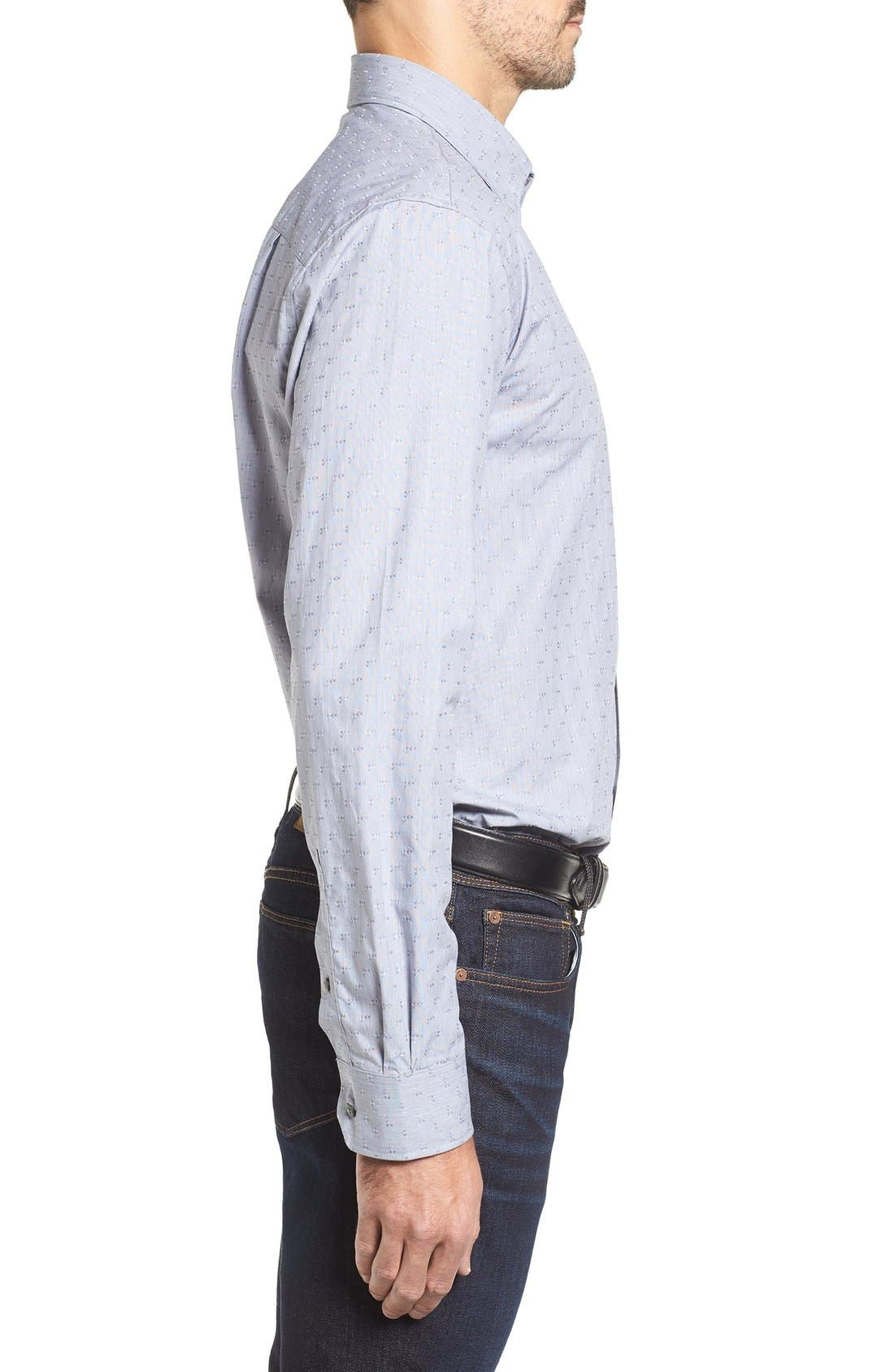 Starboard Jacquard Sport Shirt,                             Alternate thumbnail 4, color,                             Grey/ Multi