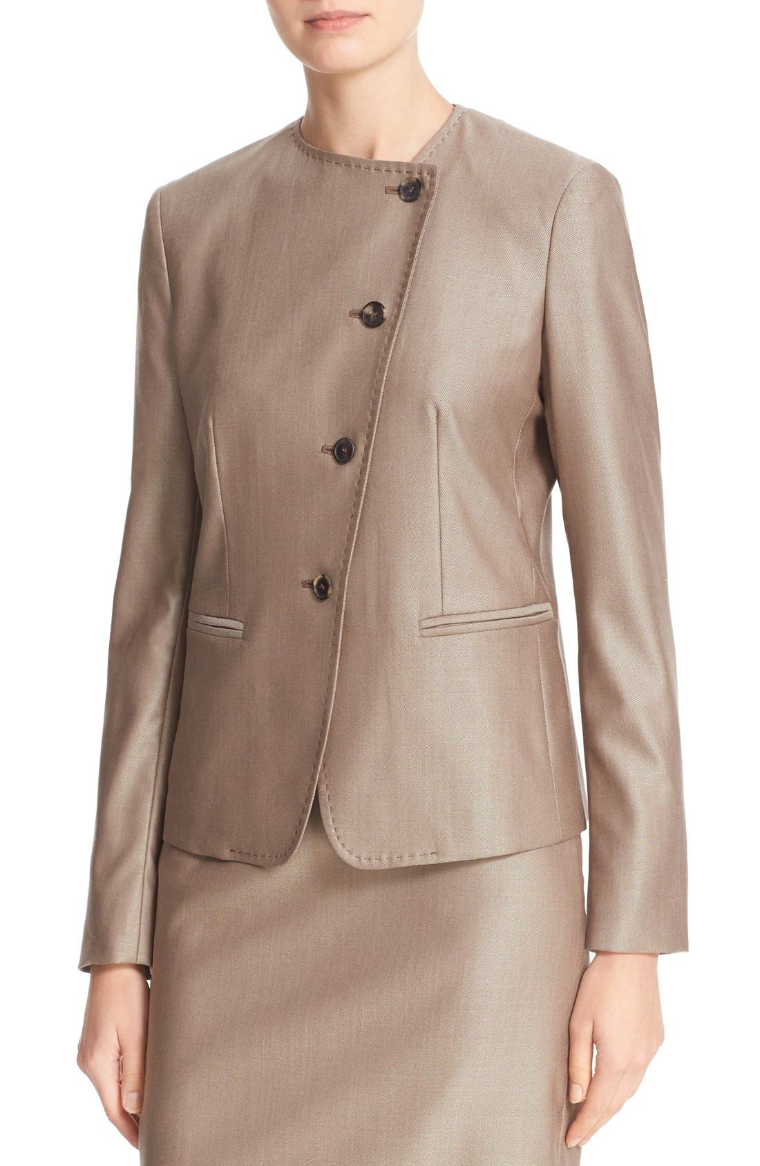 Erba Asymmetrical Jacket,                             Alternate thumbnail 6, color,                             Copper