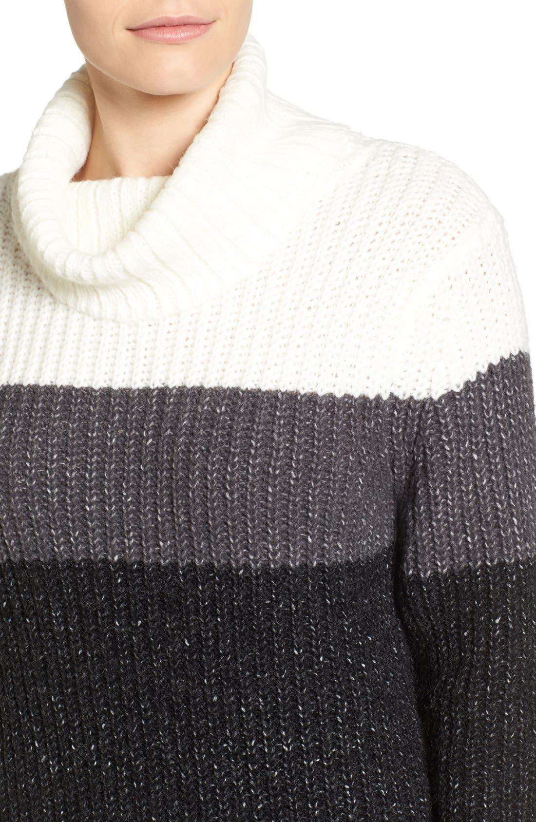 Alternate Image 4  - Press Stripe Knit Turtleneck Sweater