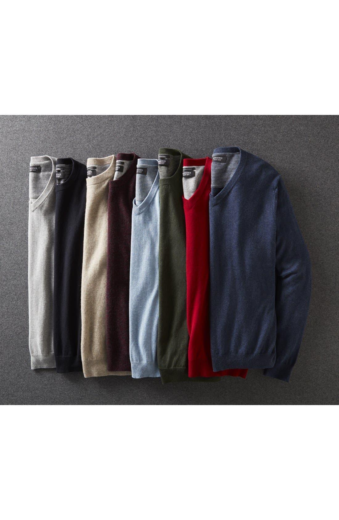 Cotton & Cashmere V-Neck Sweater,                             Alternate thumbnail 4, color,