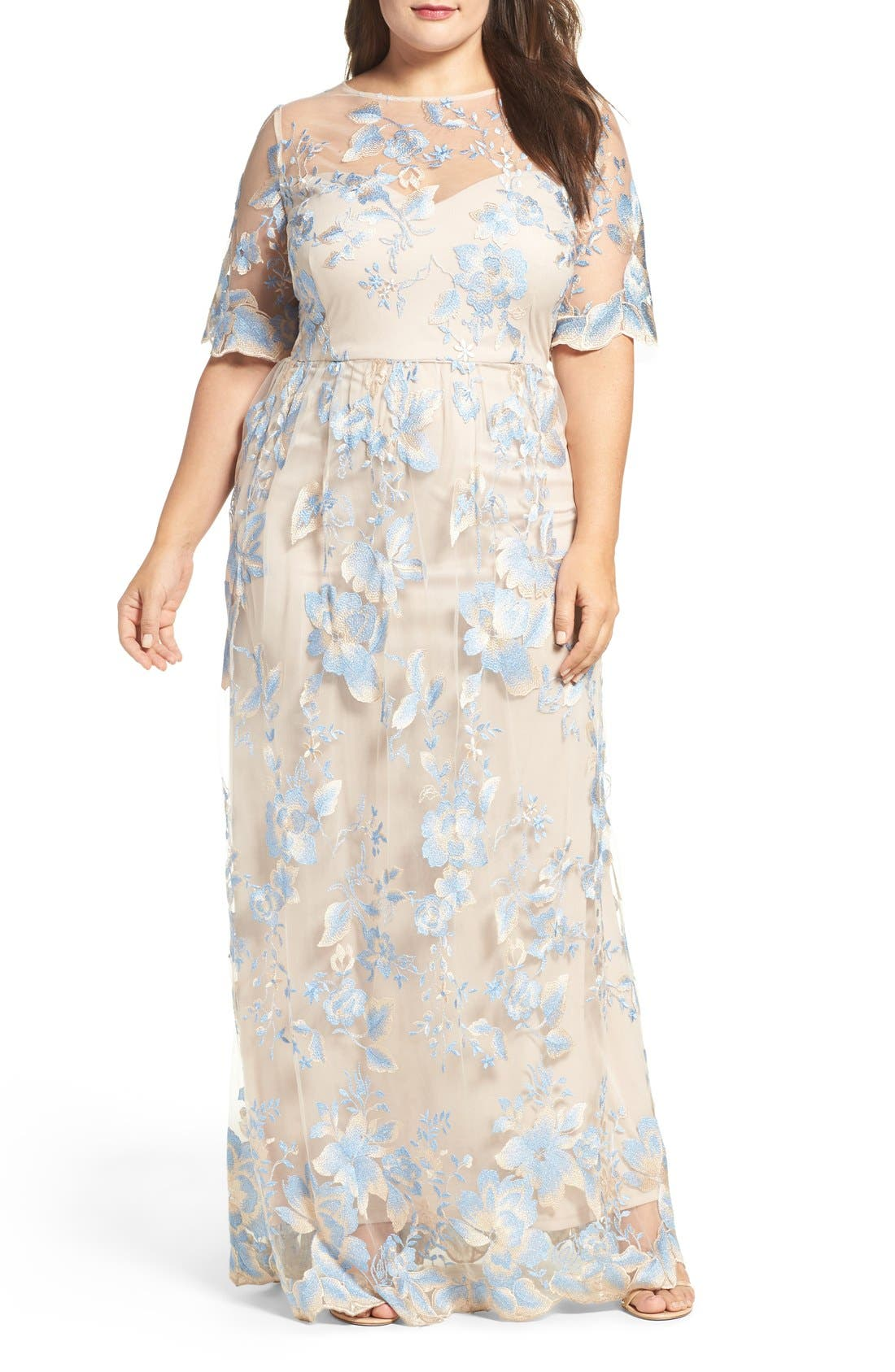 Illusion Lace Gown,                         Main,                         color, Thunder Cloud/ Gold