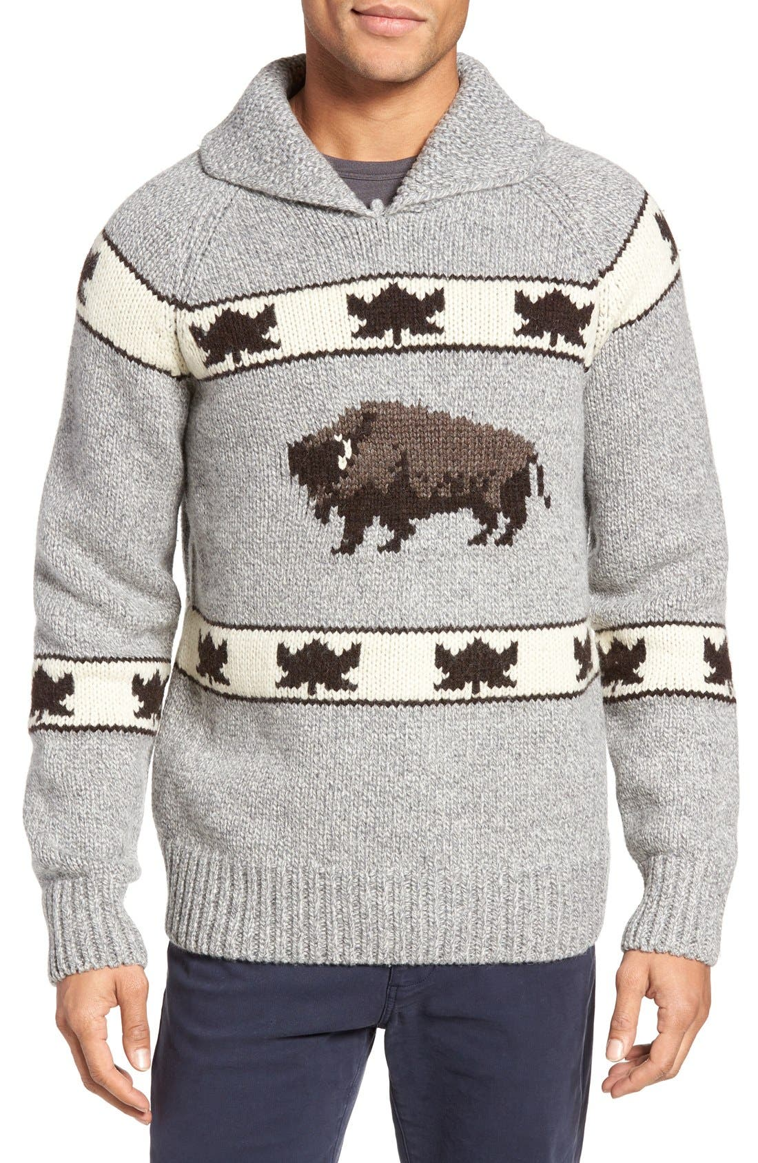 Cowichan Pullover Sweater,                         Main,                         color, Heather Grey