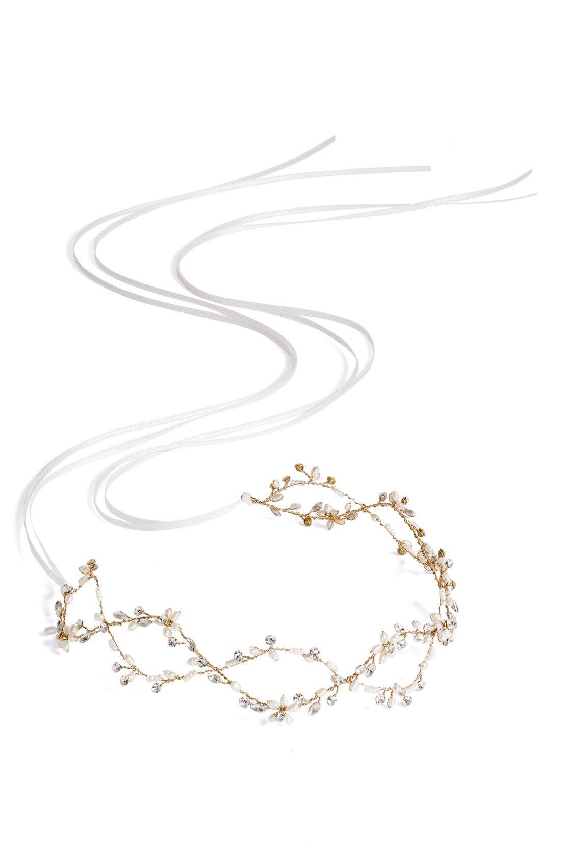 Alternate Image 3  - Brides & Hairpins Octavia Pearl & Jeweled Halo & Sash