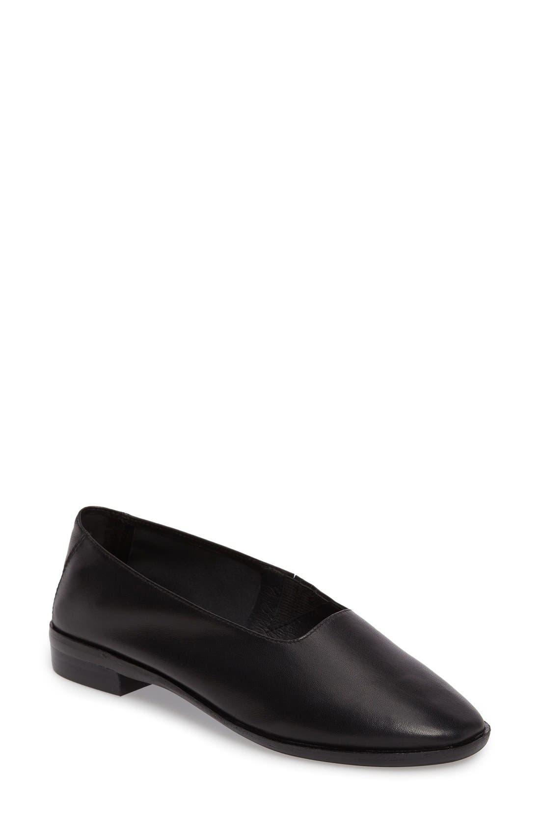'Jordan' Flat,                         Main,                         color, Black Leather