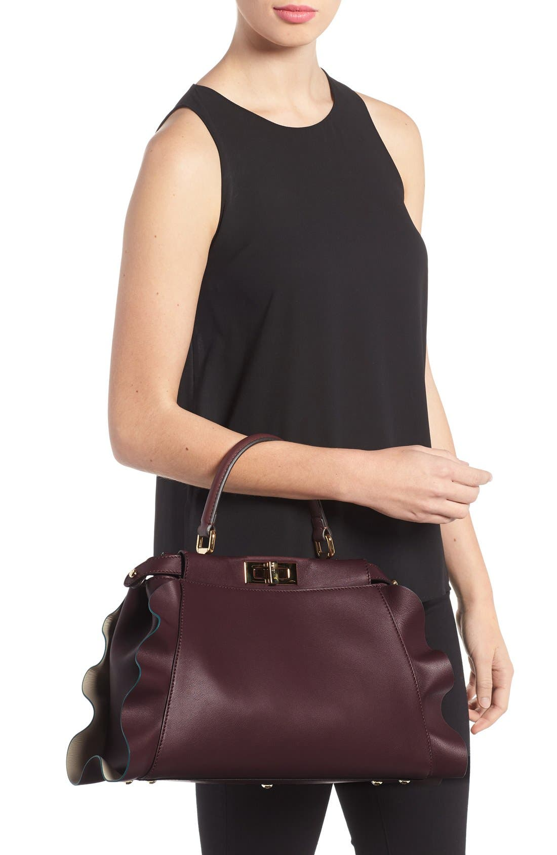 'Medium Peekaboo - Wave' Leather Bag,                             Alternate thumbnail 2, color,                             Bordeaux/ Milk/ Soft Gold