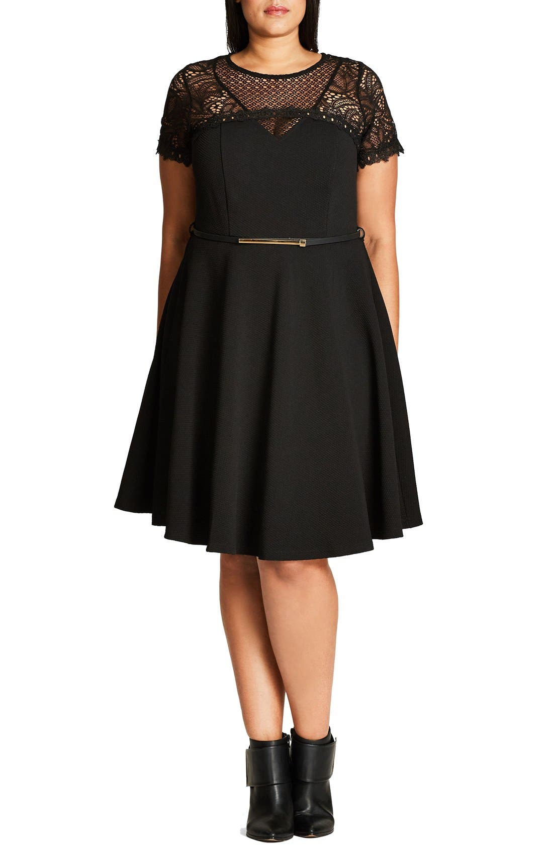 Alternate Image 1 Selected - City Chic Lace Fever Dress (Plus Size)