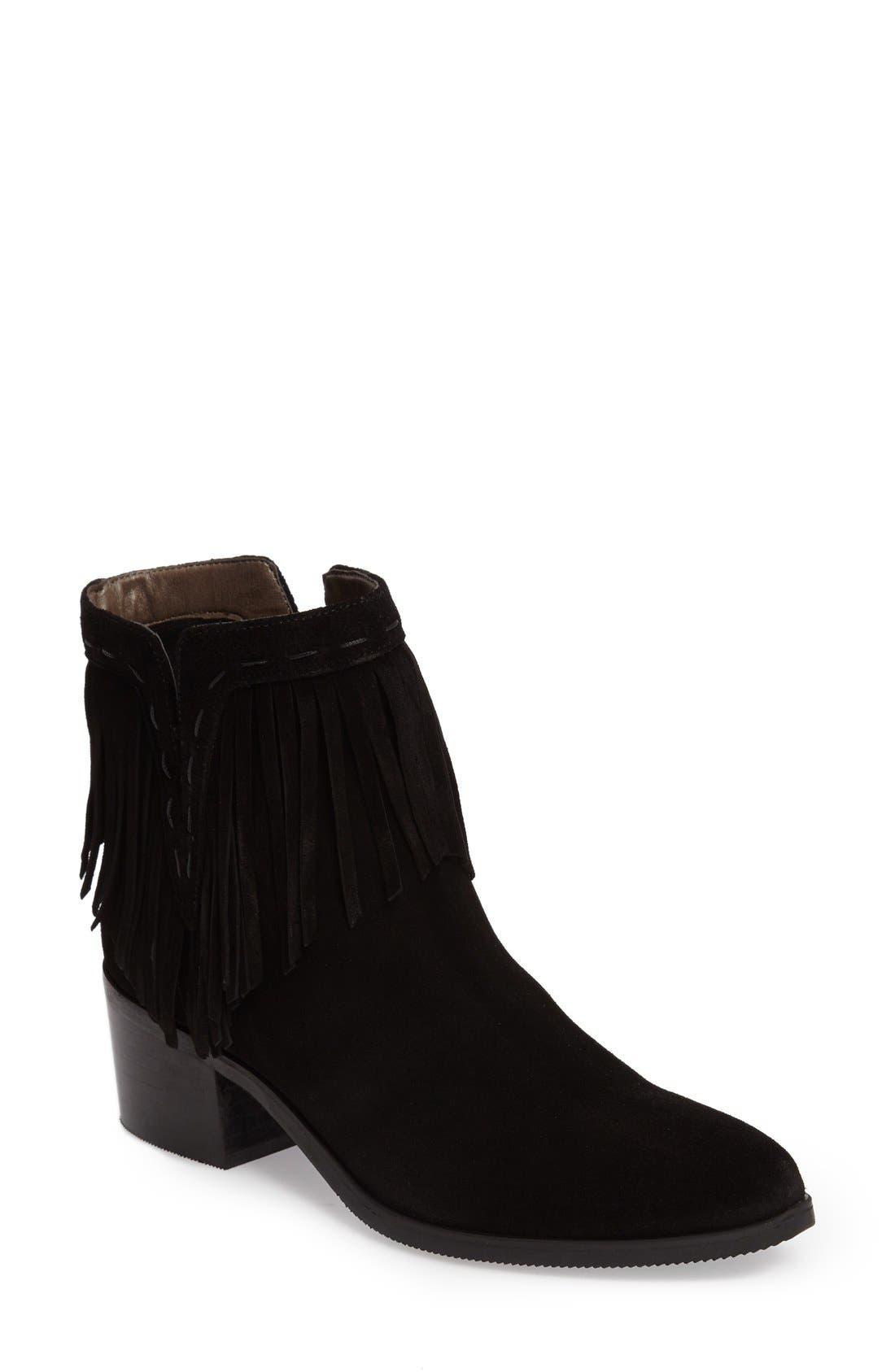 Tex Fringe Block Heel Bootie,                         Main,                         color, Black Suede