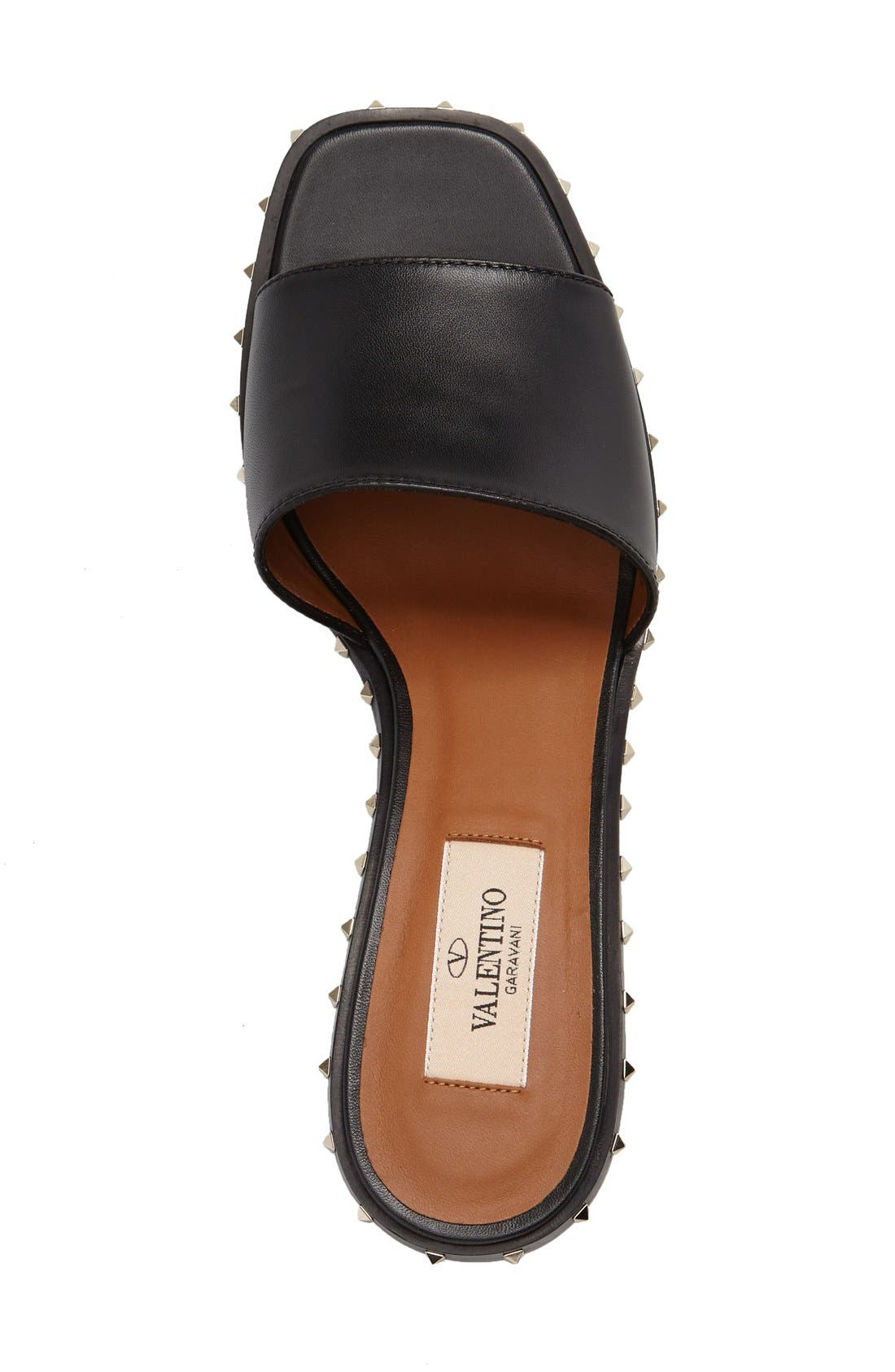 Soul Studded Slide Sandal,                             Alternate thumbnail 3, color,                             Black Leather