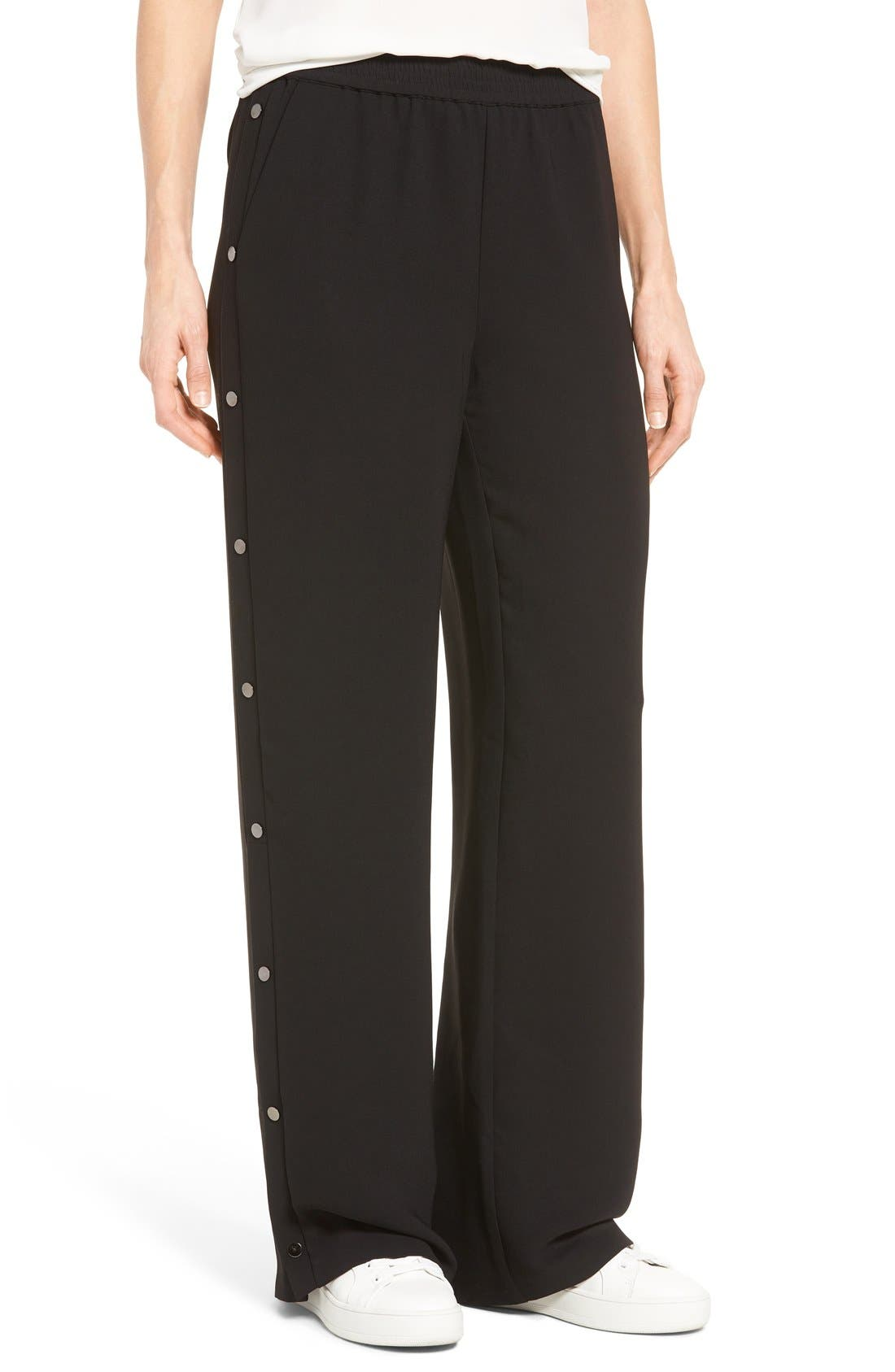 Side Snap Track Pants, Main, color, Black