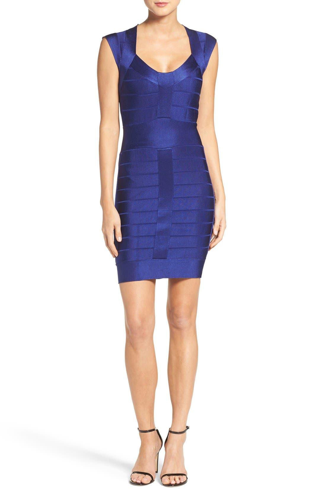 Spotlight Bandage Dress,                             Alternate thumbnail 4, color,                             Maya Blue