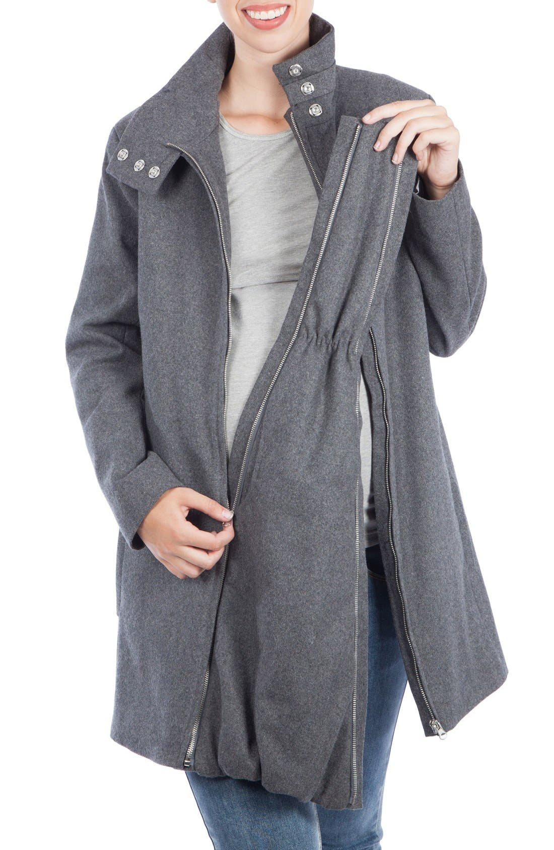 A-Line Convertible 3-in-1 Maternity Swing Coat,                             Alternate thumbnail 5, color,                             Grey