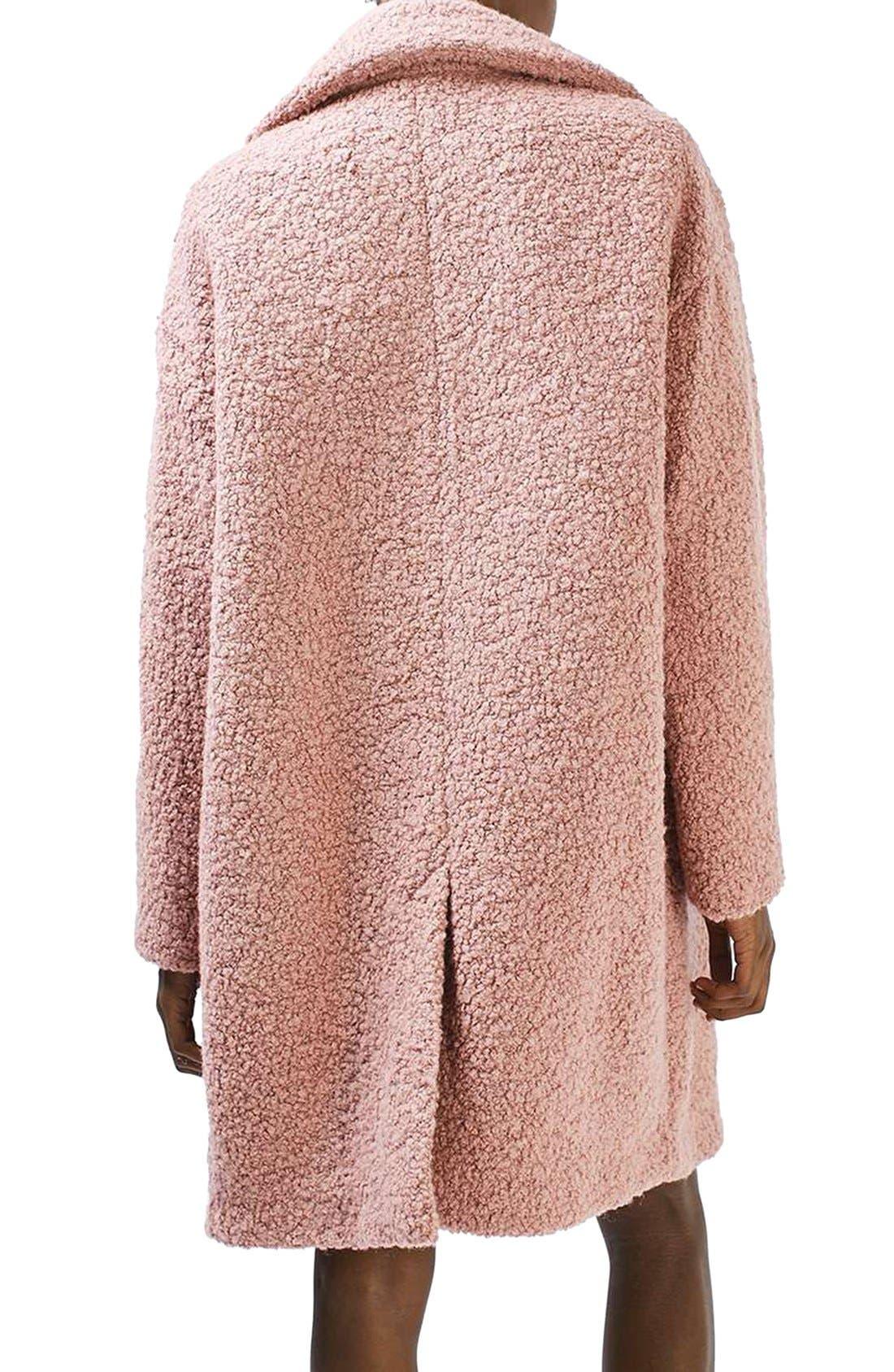 Alicia Bouclé Coat,                             Alternate thumbnail 3, color,                             Pink