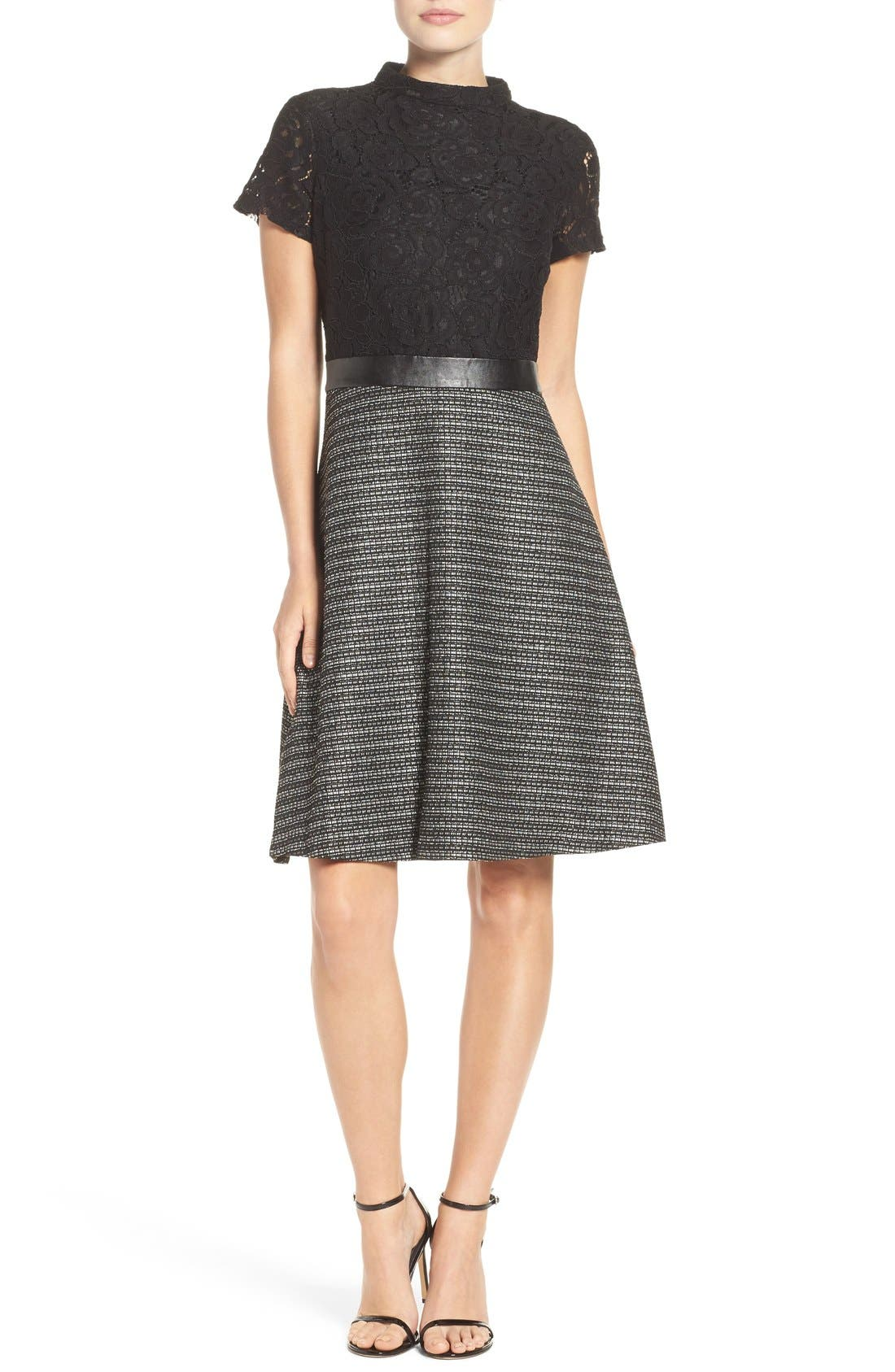 Alternate Image 1 Selected - Ellen Tracy Fit & Flare Dress (Regular & Petite)