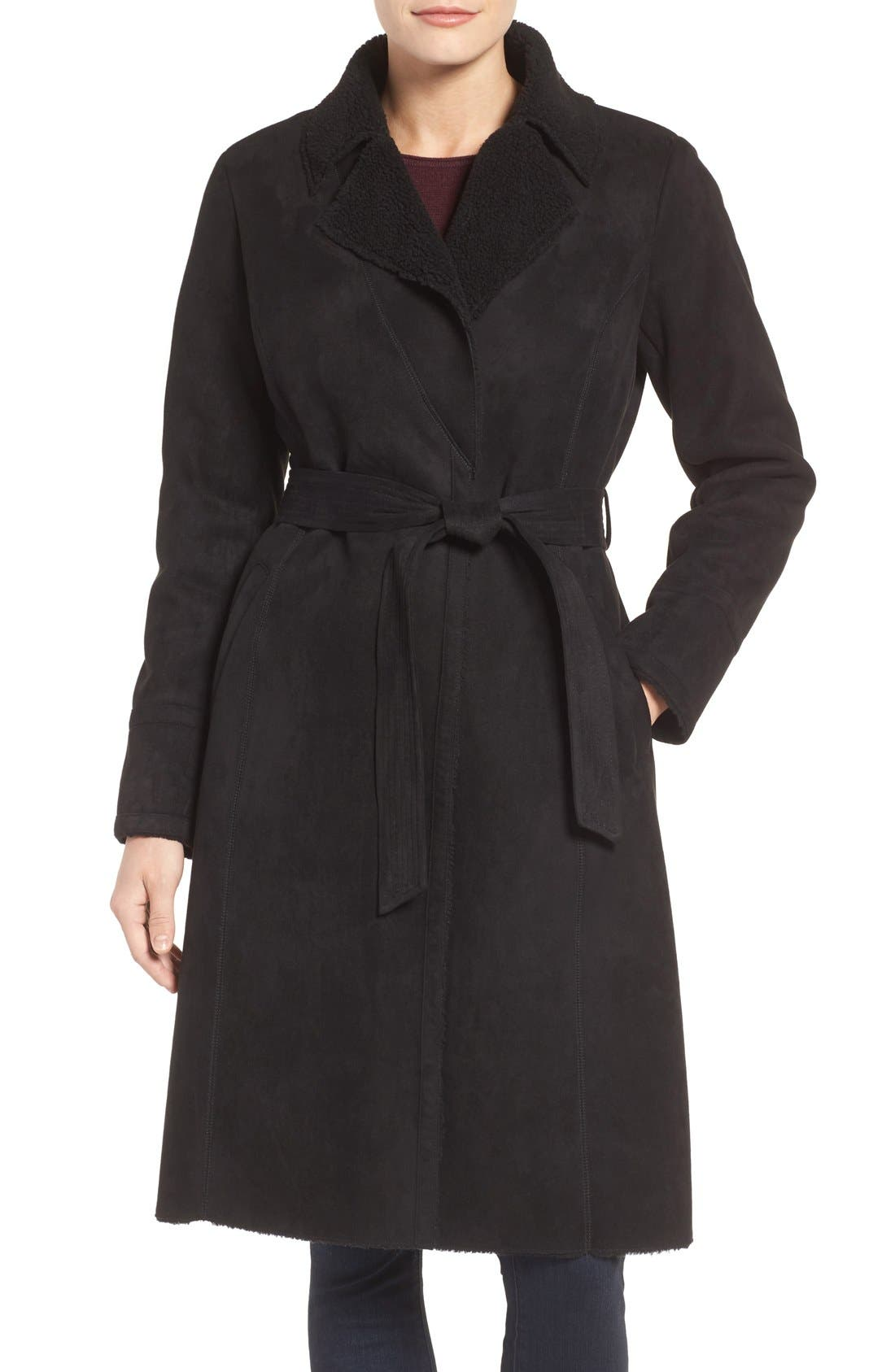 Faux Shearling Wrap Trench Coat,                         Main,                         color, Black