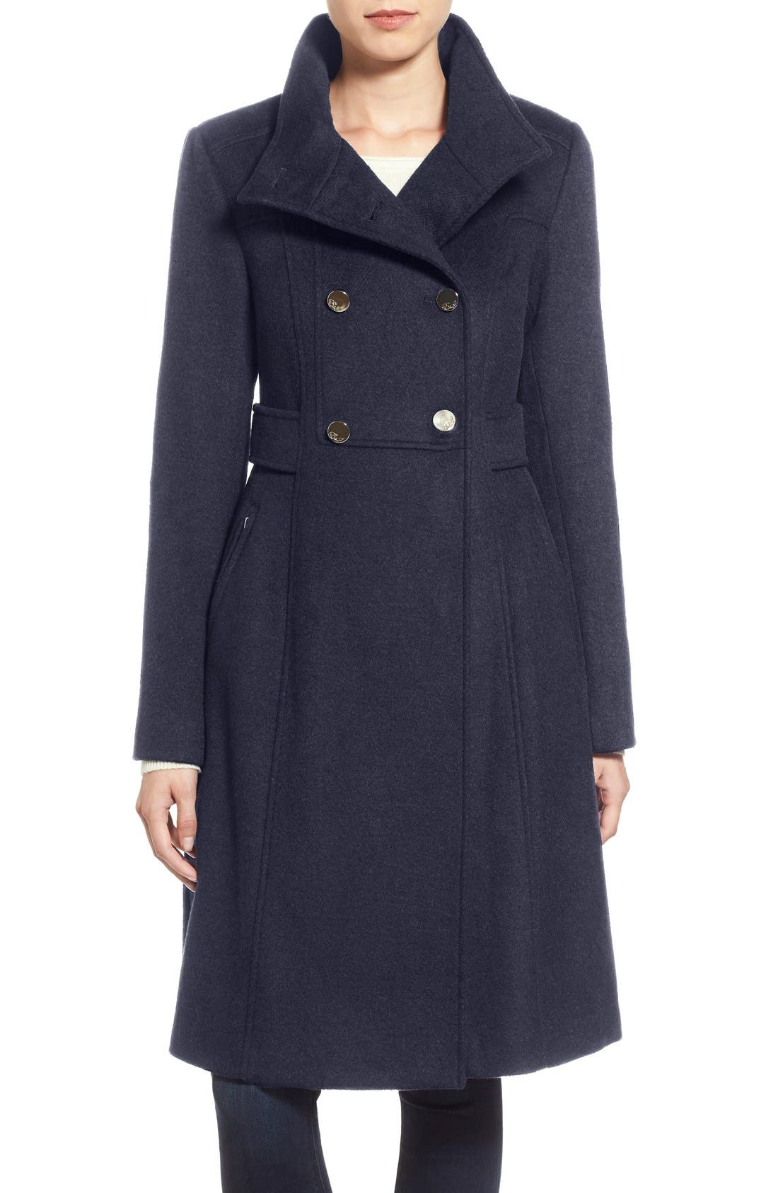 Eliza J Wool Blend Long Military Coat (Regular & Petite)