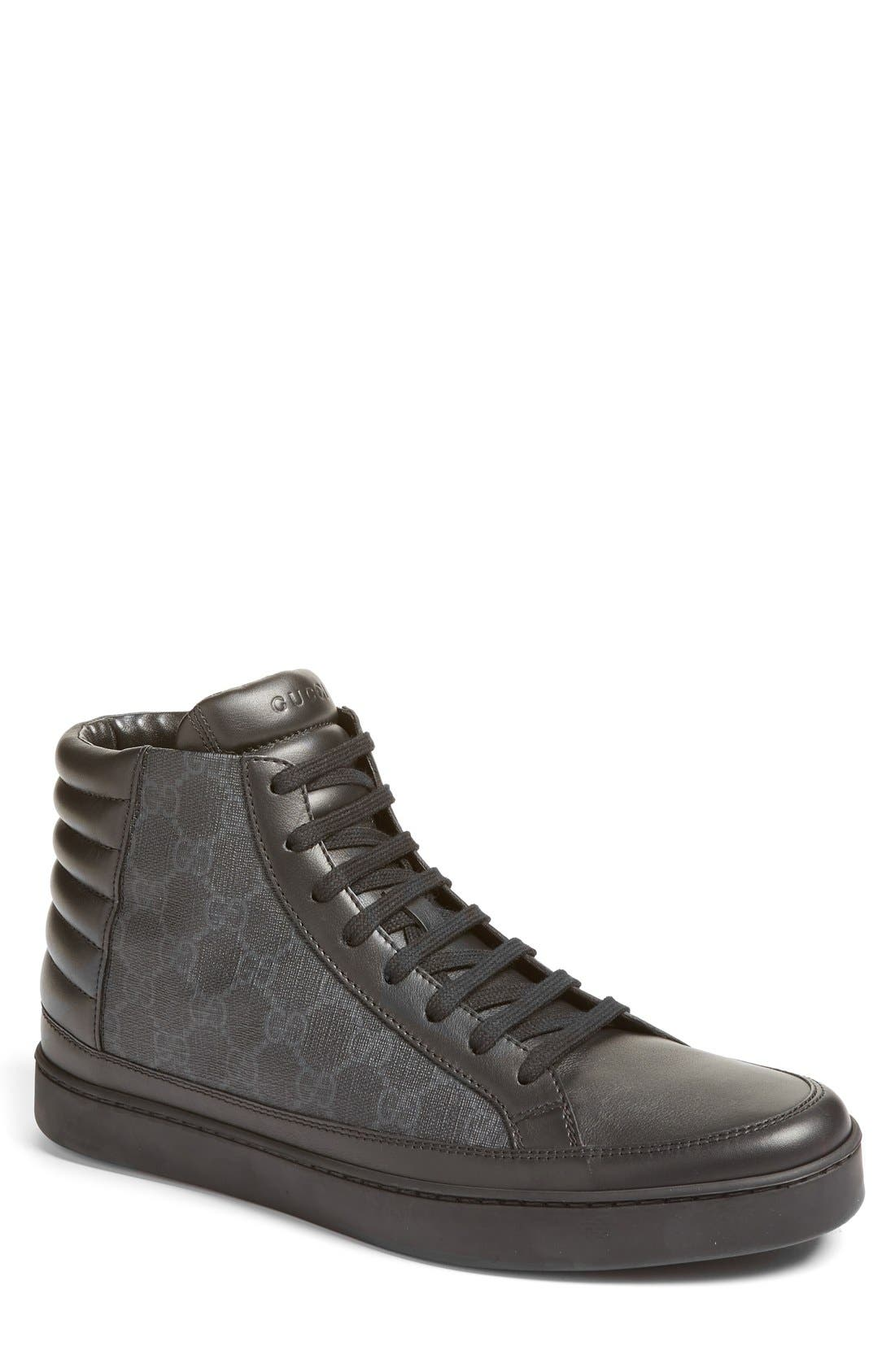 black gucci shoes for men high tops. main image - gucci \u0027common\u0027 high top sneaker (men) black shoes for men tops l