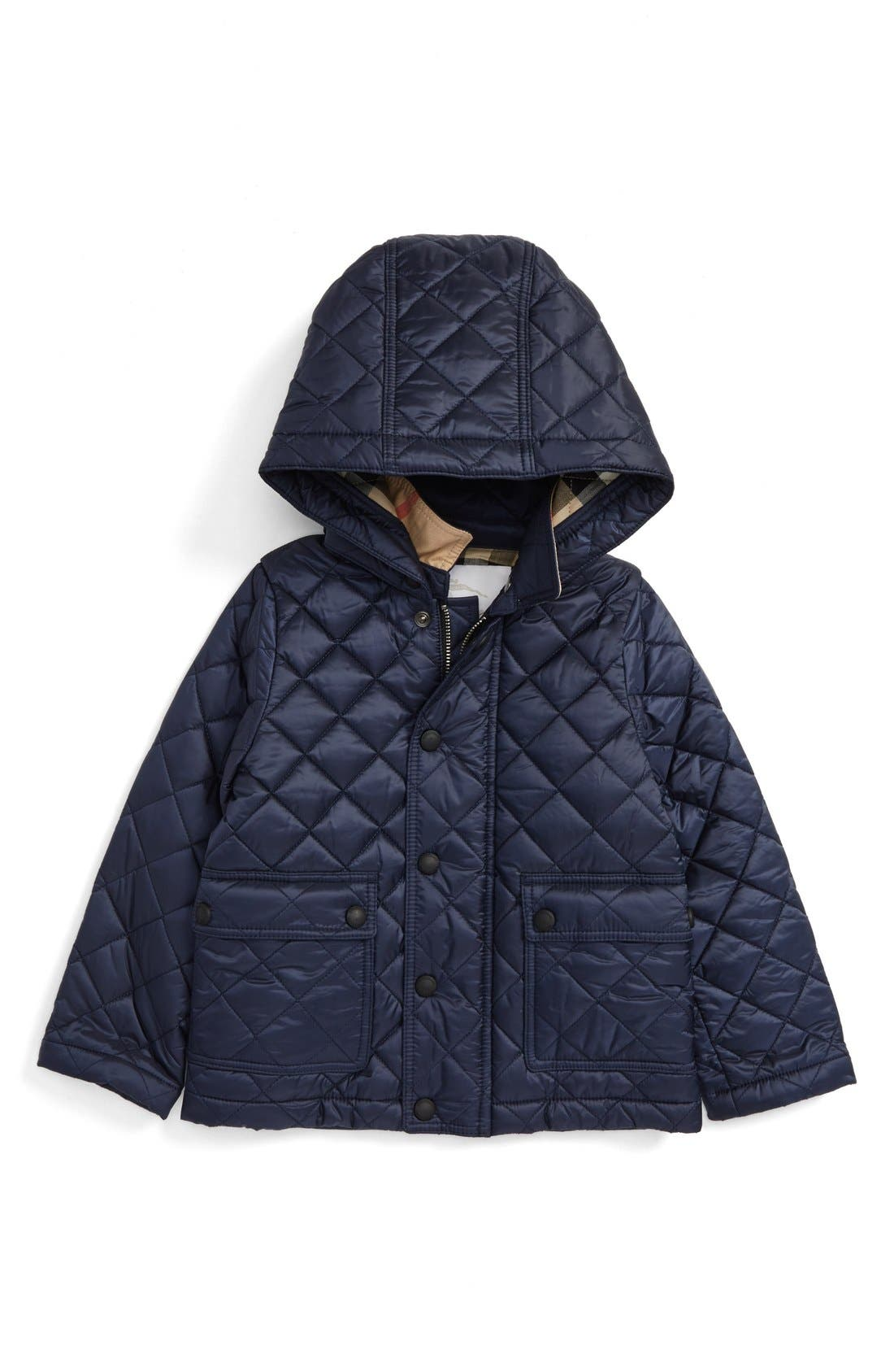 Jamie Water Resistant Quilted Jacket,                             Main thumbnail 1, color,                             Ink Blue