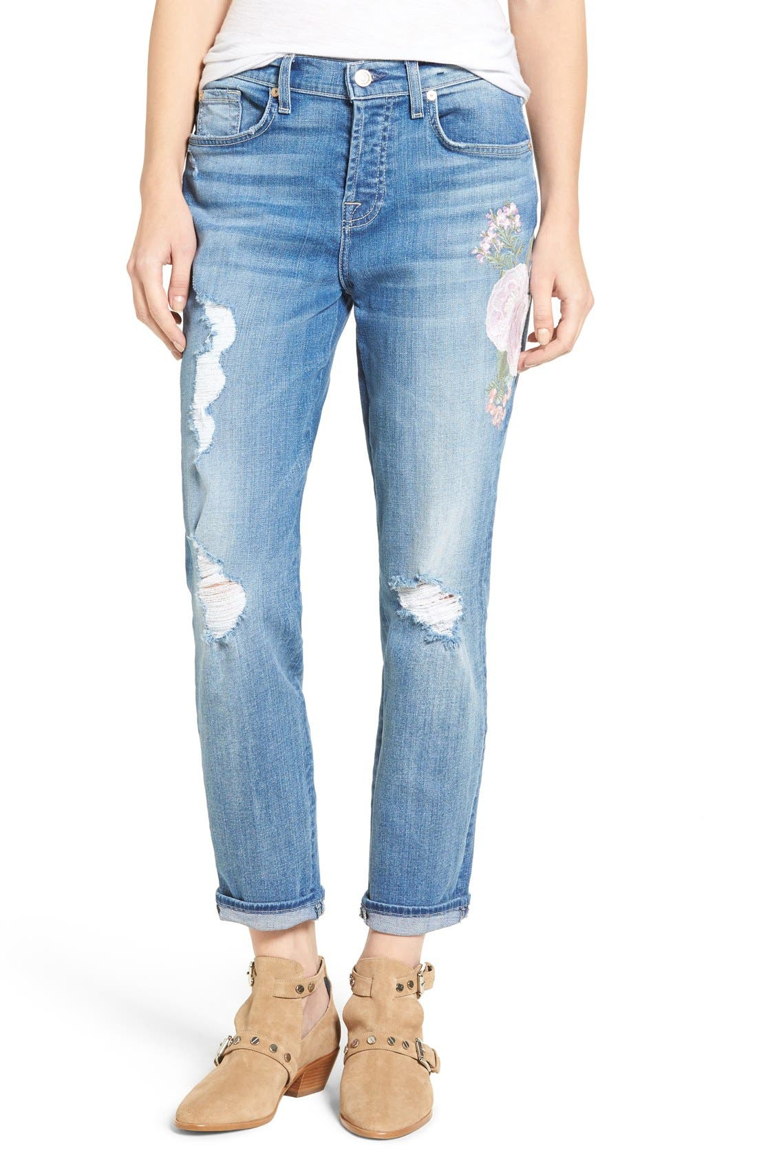 Alternate Image 1 Selected - 7 For All Mankind® Josefina Embroidered Boyfriend Jeans (Denim Embroidery Botanical)