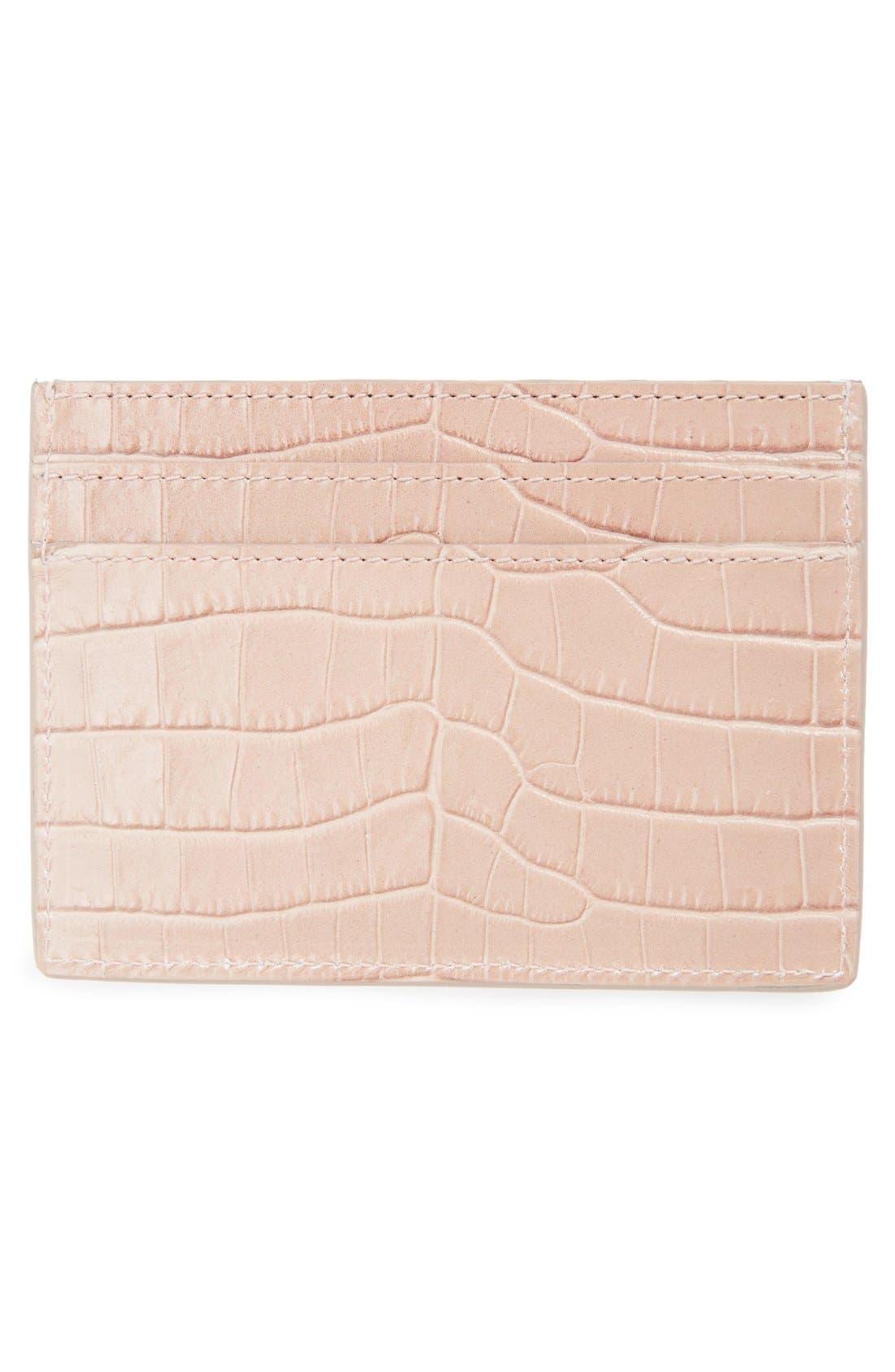 Alternate Image 2  - Saint Laurent Monogram Croc Embossed Leather Card Case