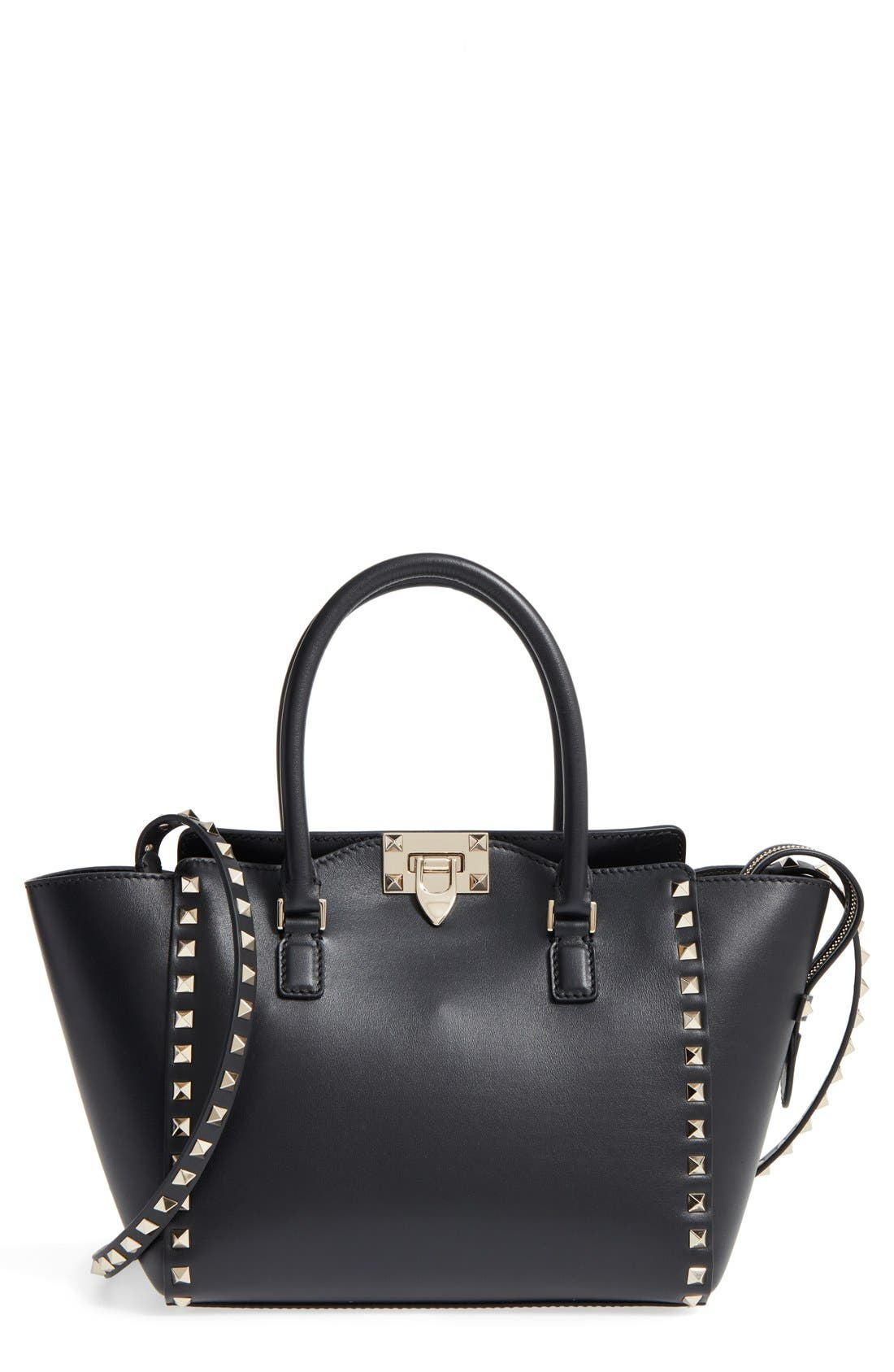 Rockstud Small Double Handle Leather Tote,                         Main,                         color, Nero