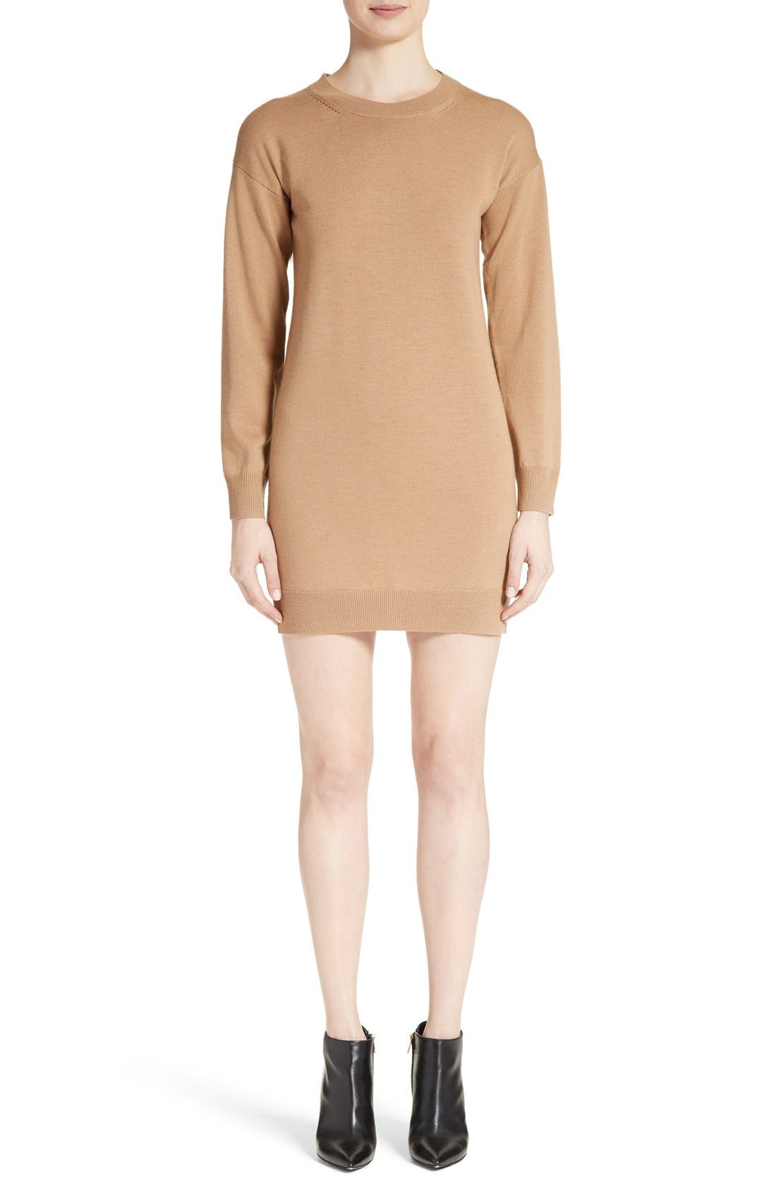 Alewater Elbow Patch Merino Wool Dress,                             Main thumbnail 1, color,                             Camel