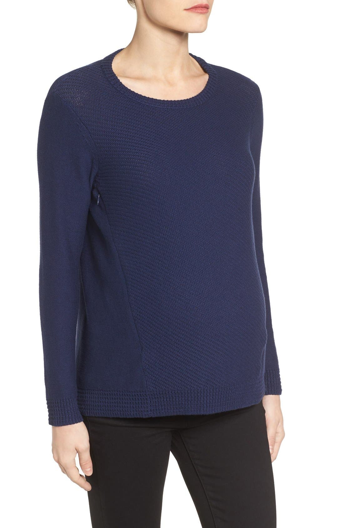 Wiley Maternity/Nursing Sweatshirt,                             Alternate thumbnail 3, color,                             Navy