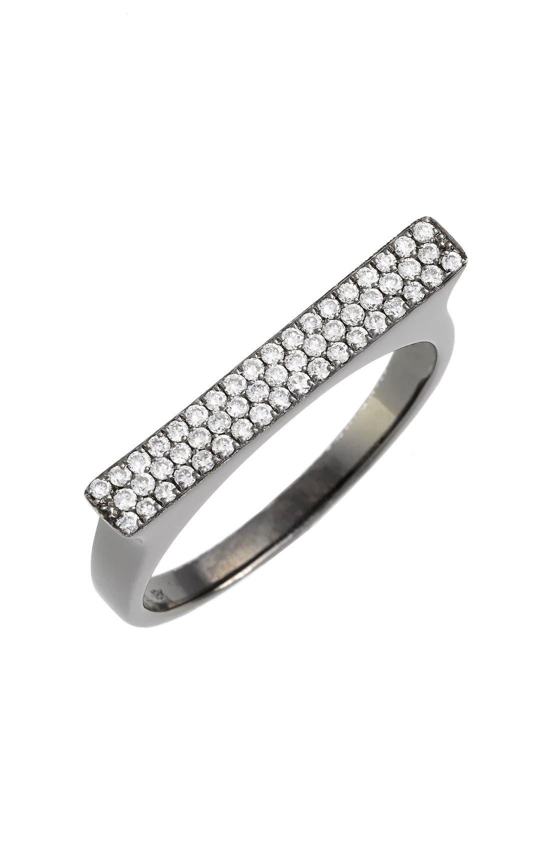 Diamond Bar Ring,                             Main thumbnail 1, color,                             Black Gold