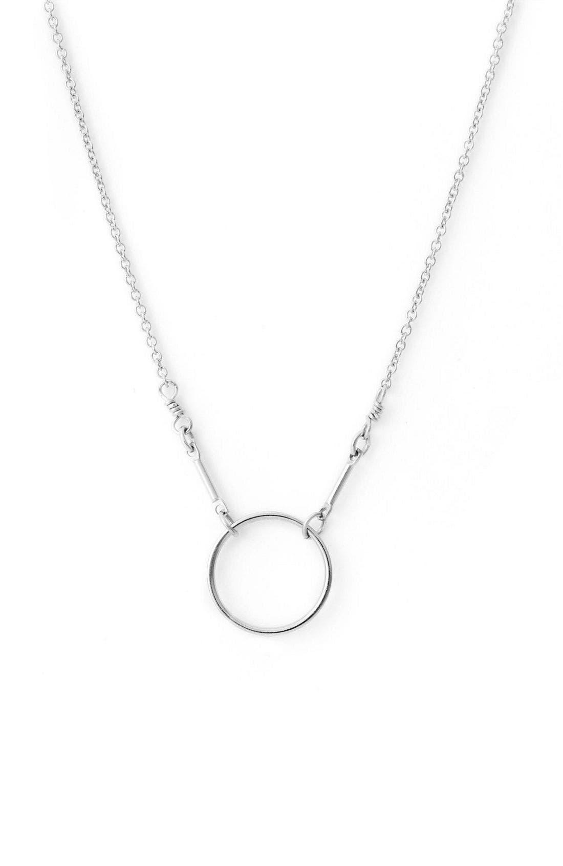 'Reminder - Karma' Pendant Necklace,                             Alternate thumbnail 2, color,                             Silver Circle