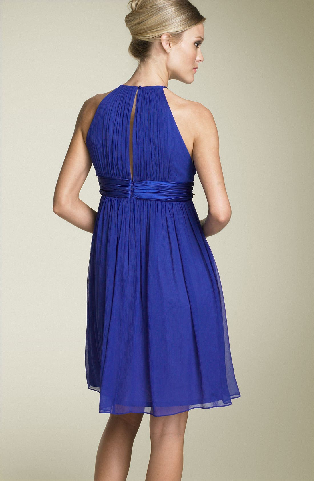 Silk Chiffon Halter Dress,                             Alternate thumbnail 2, color,                             Tile Blue