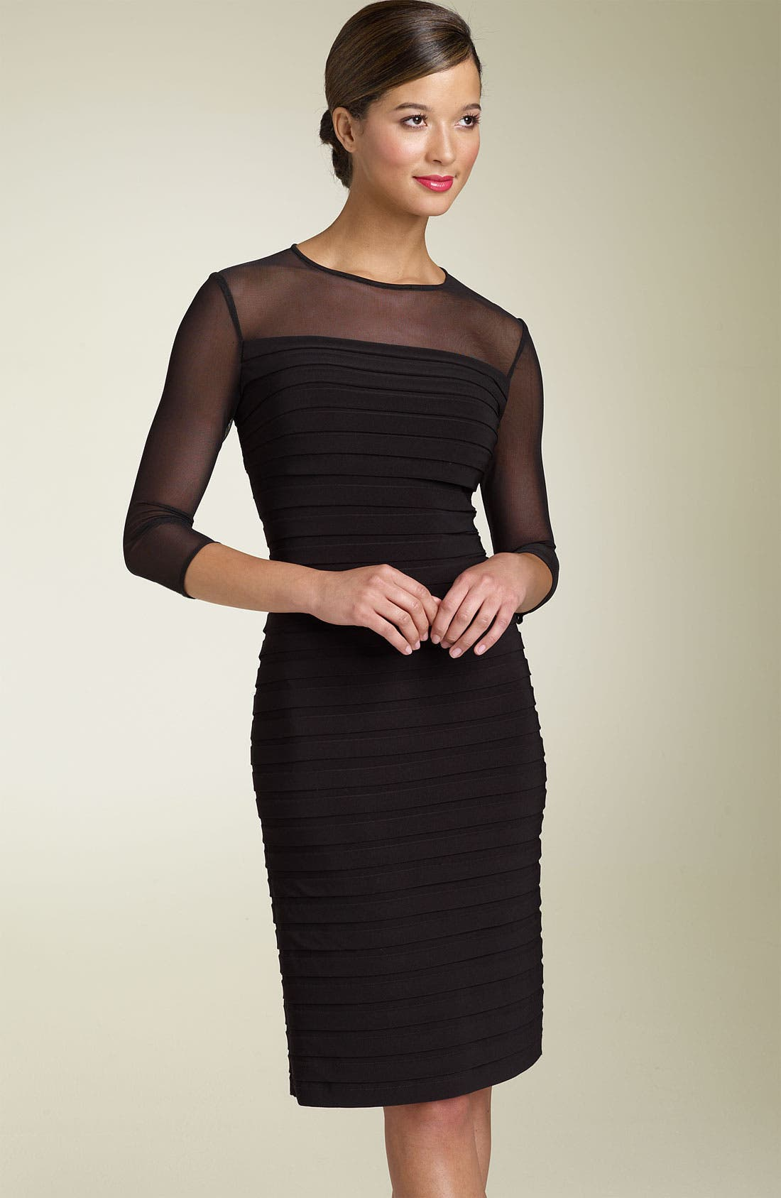 Main Image - Adrianna Papell Illusion Yoke Pleated Dress (Regular & Petite)