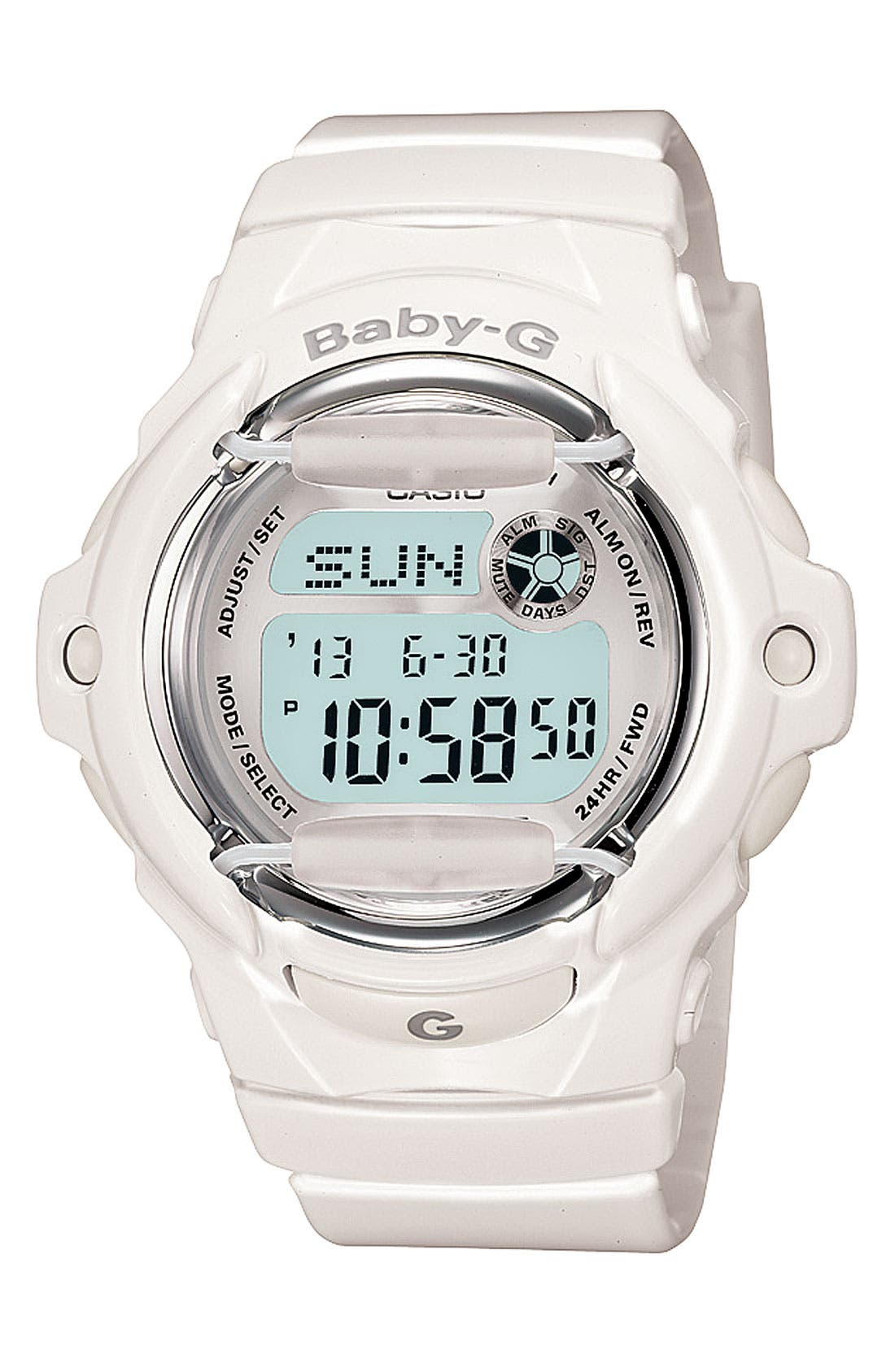 Baby-G Jelly Watch, 46mm,                         Main,                         color, White