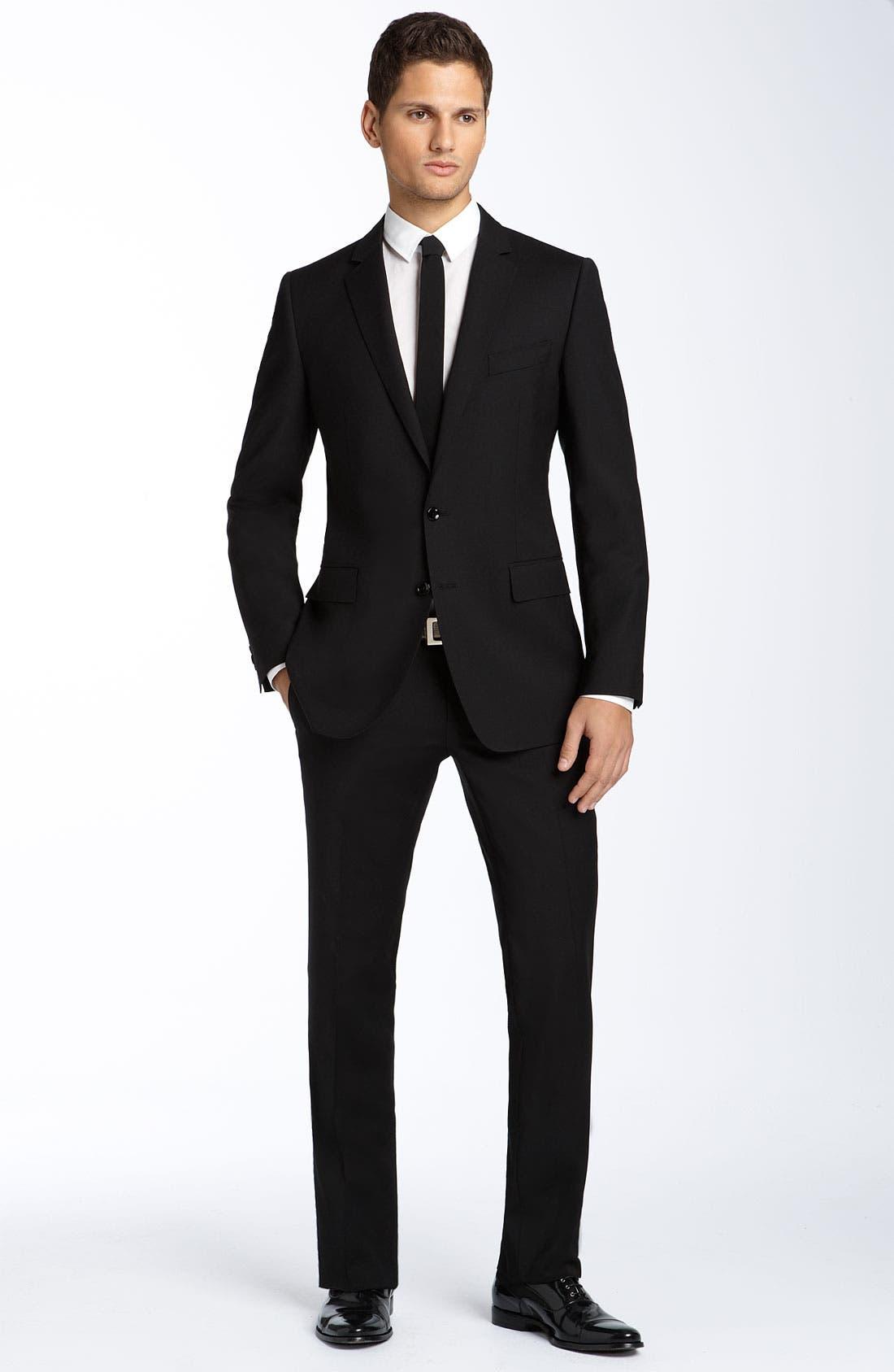 Main Image - D&G Black Stretch Wool Suit