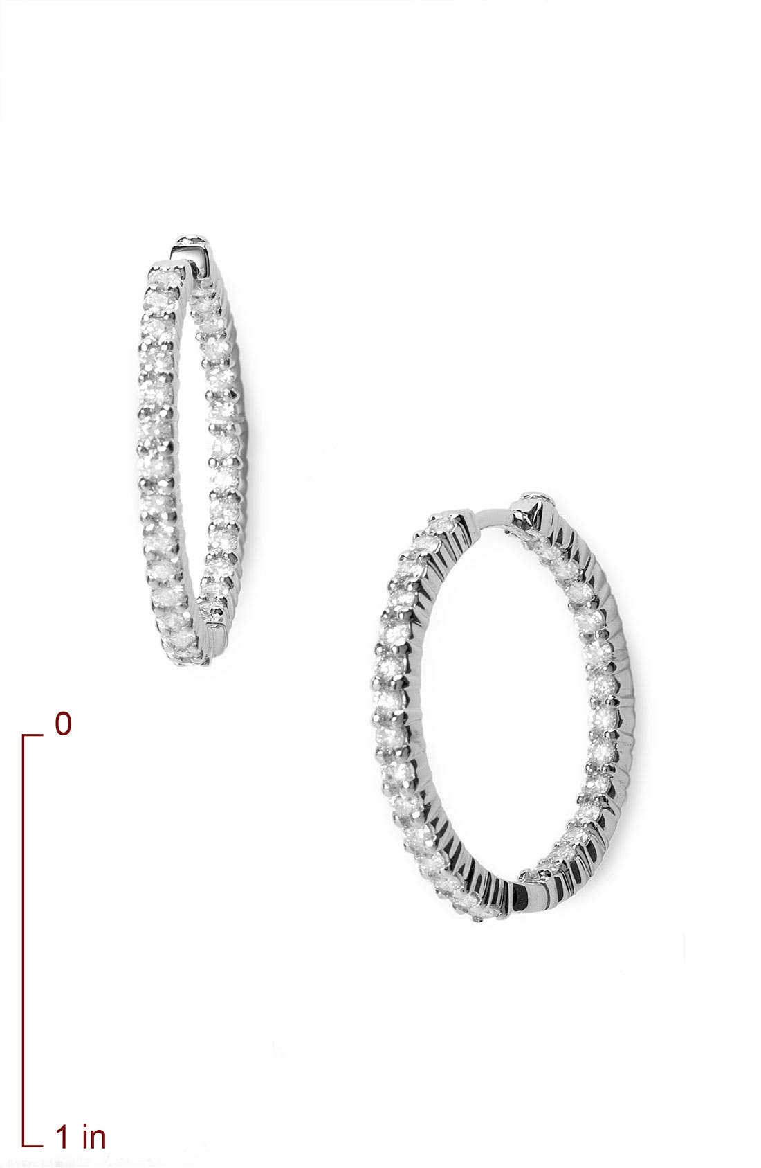 Diamond Hoop Earrings,                             Alternate thumbnail 2, color,                             White Gold