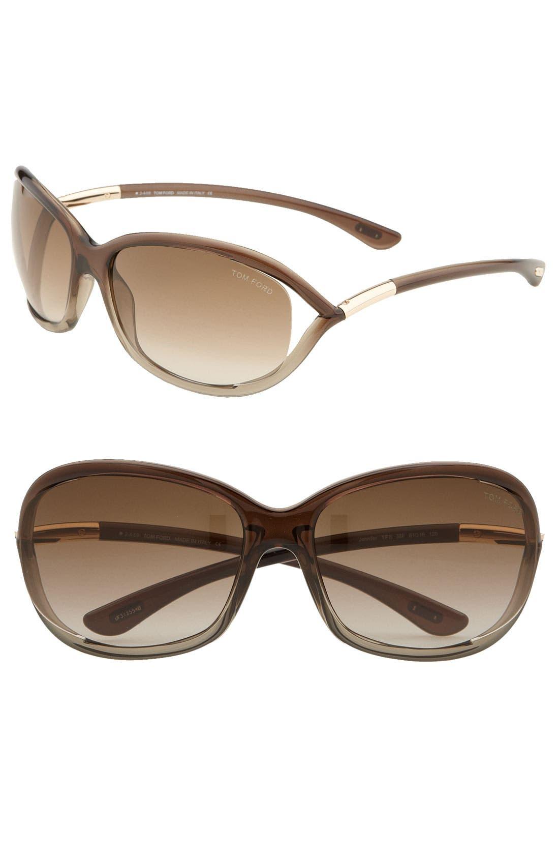 Tom Ford 'Jennifer' 61mm Oval Oversize Frame Sunglasses