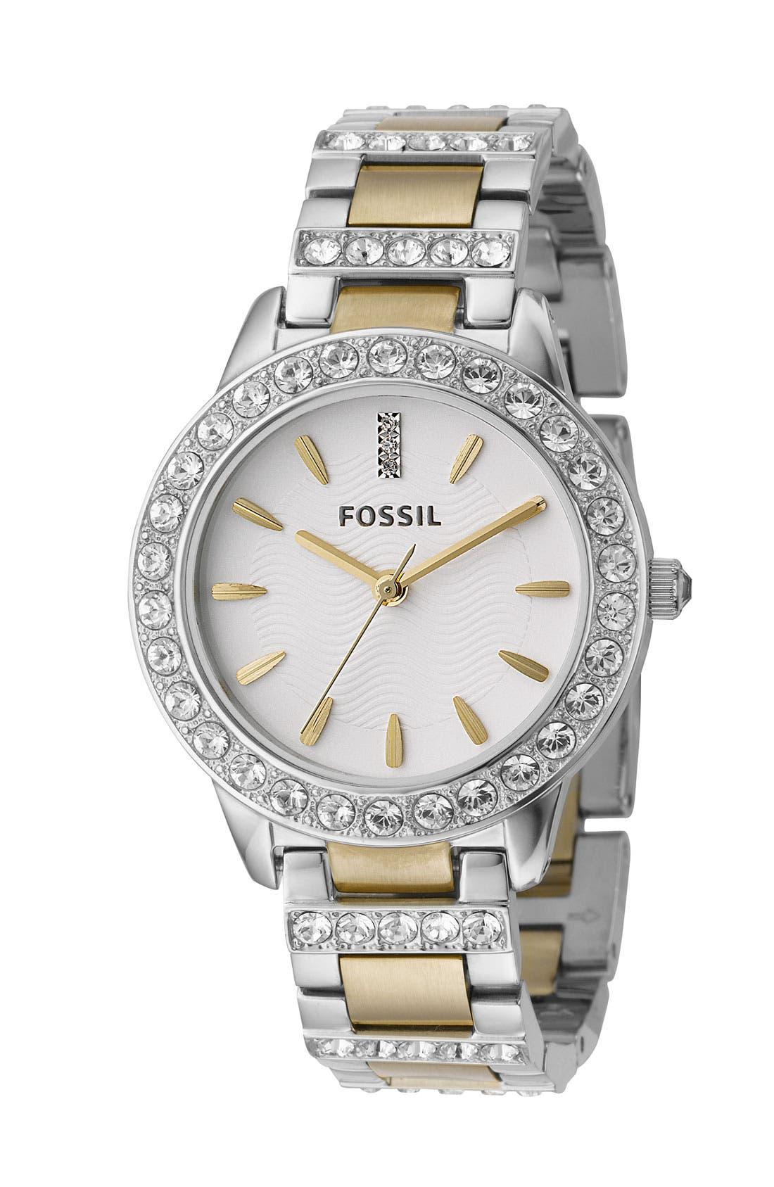'Jesse' Crystal Embellished Bracelet Watch, 34mm,                         Main,                         color, Gold / Silver