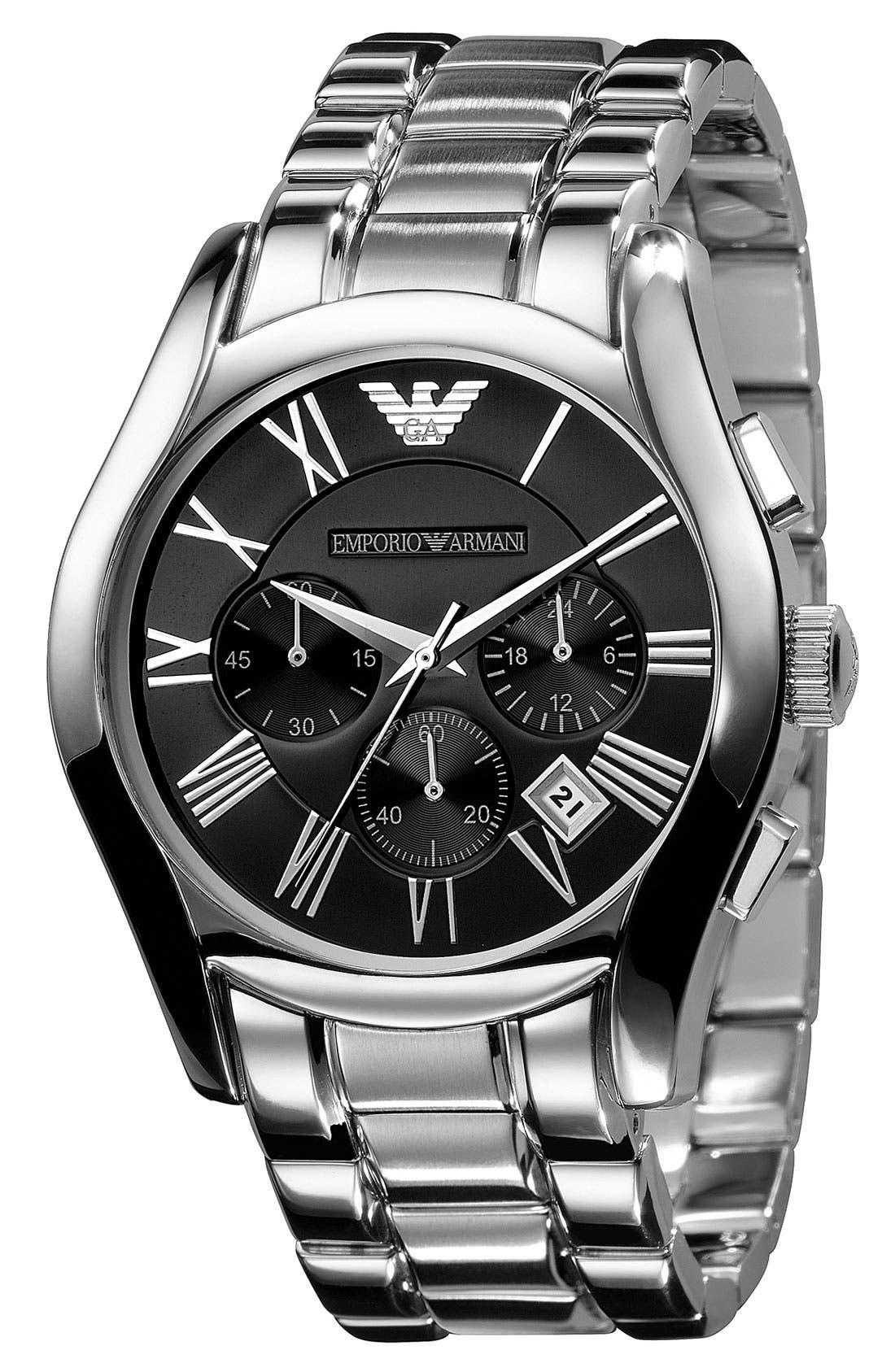 Alternate Image 2  - Emporio Armani Stainless Steel Chronograph Watch, 43mm
