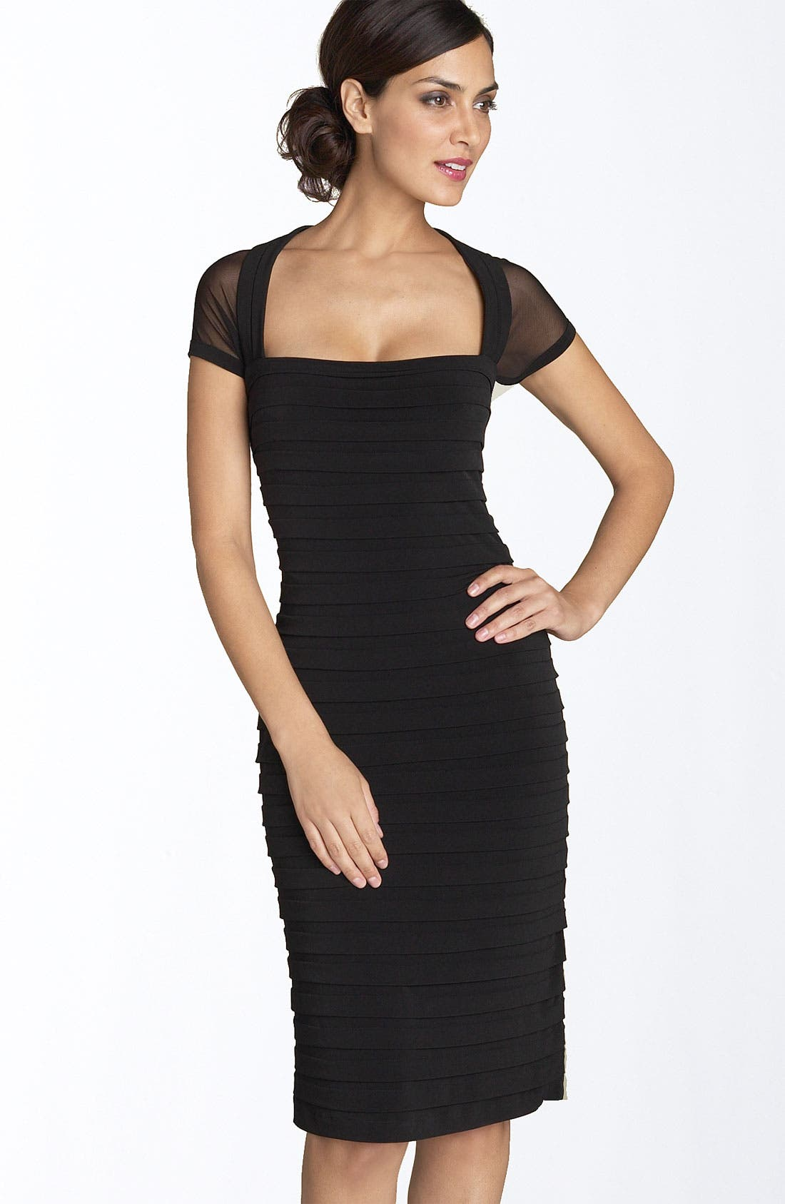 Main Image - Maggy London Illusion Back Pleated Matte Jersey Dress (Regular & Petite)