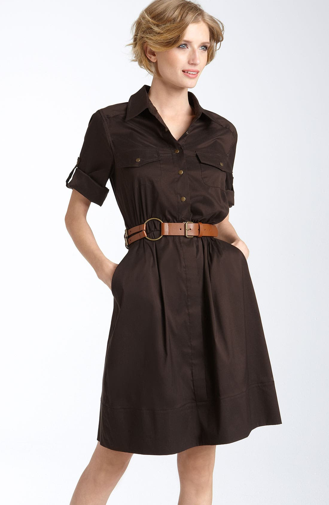 Alternate Image 1 Selected - Suzi Chin for Maggy Boutique Belted Cotton Blend Shirtdress