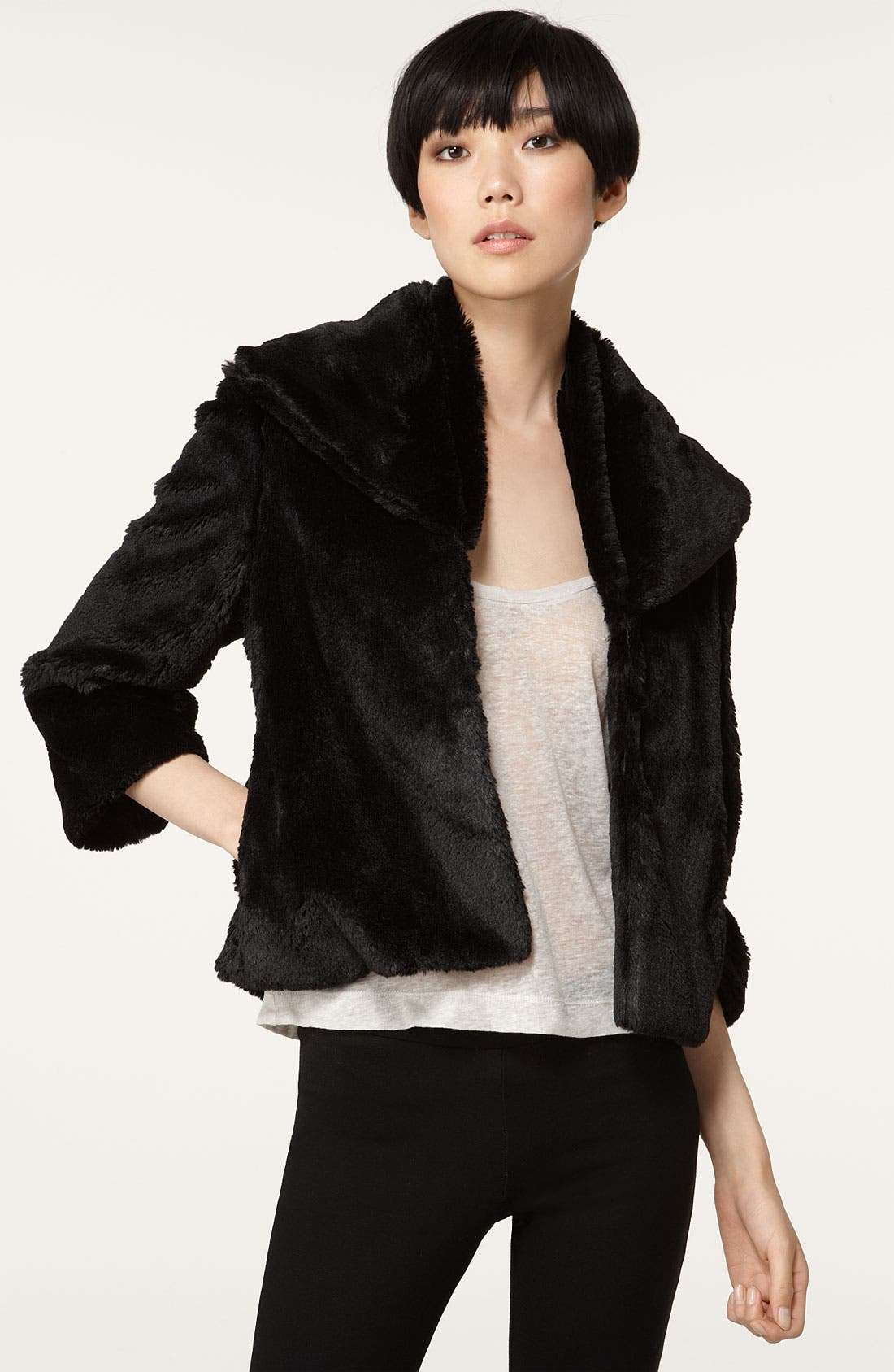 Shawl Collar Faux Fur Jacket,                         Main,                         color, Black