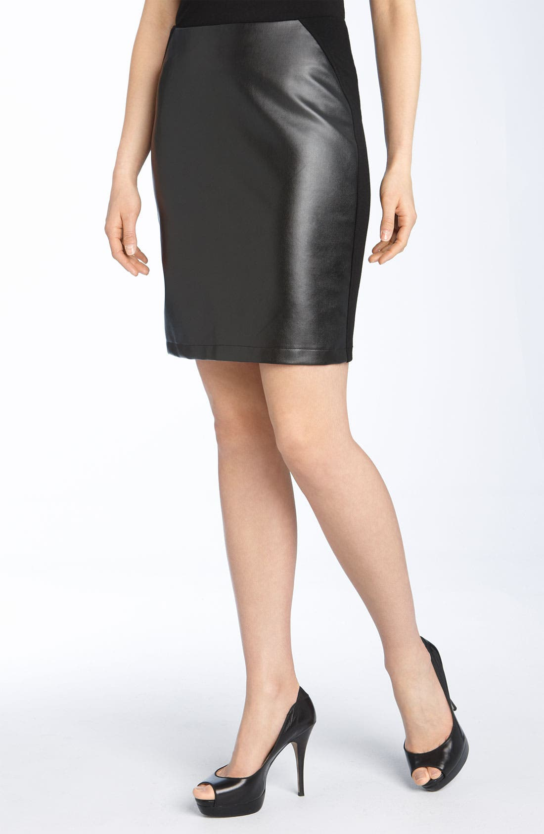 Alternate Image 1 Selected - Alberto Makali Knit & Faux Leather Pencil Skirt