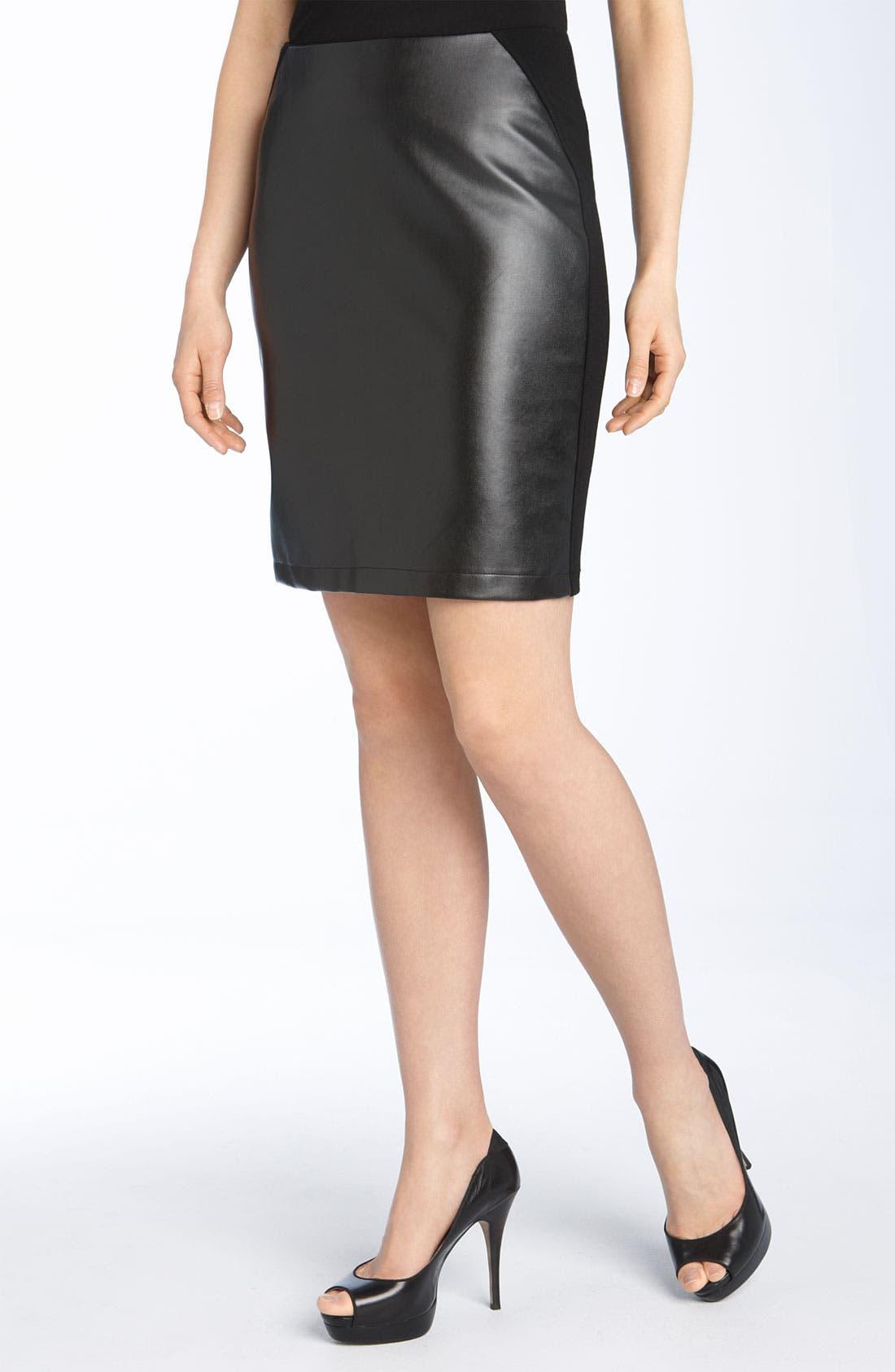 Main Image - Alberto Makali Knit & Faux Leather Pencil Skirt