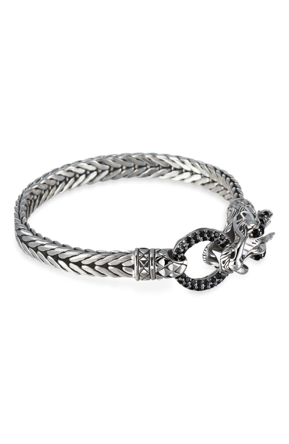 'Naga Lava' Dragon Head Bracelet,                             Main thumbnail 1, color,                             Black Sapphire