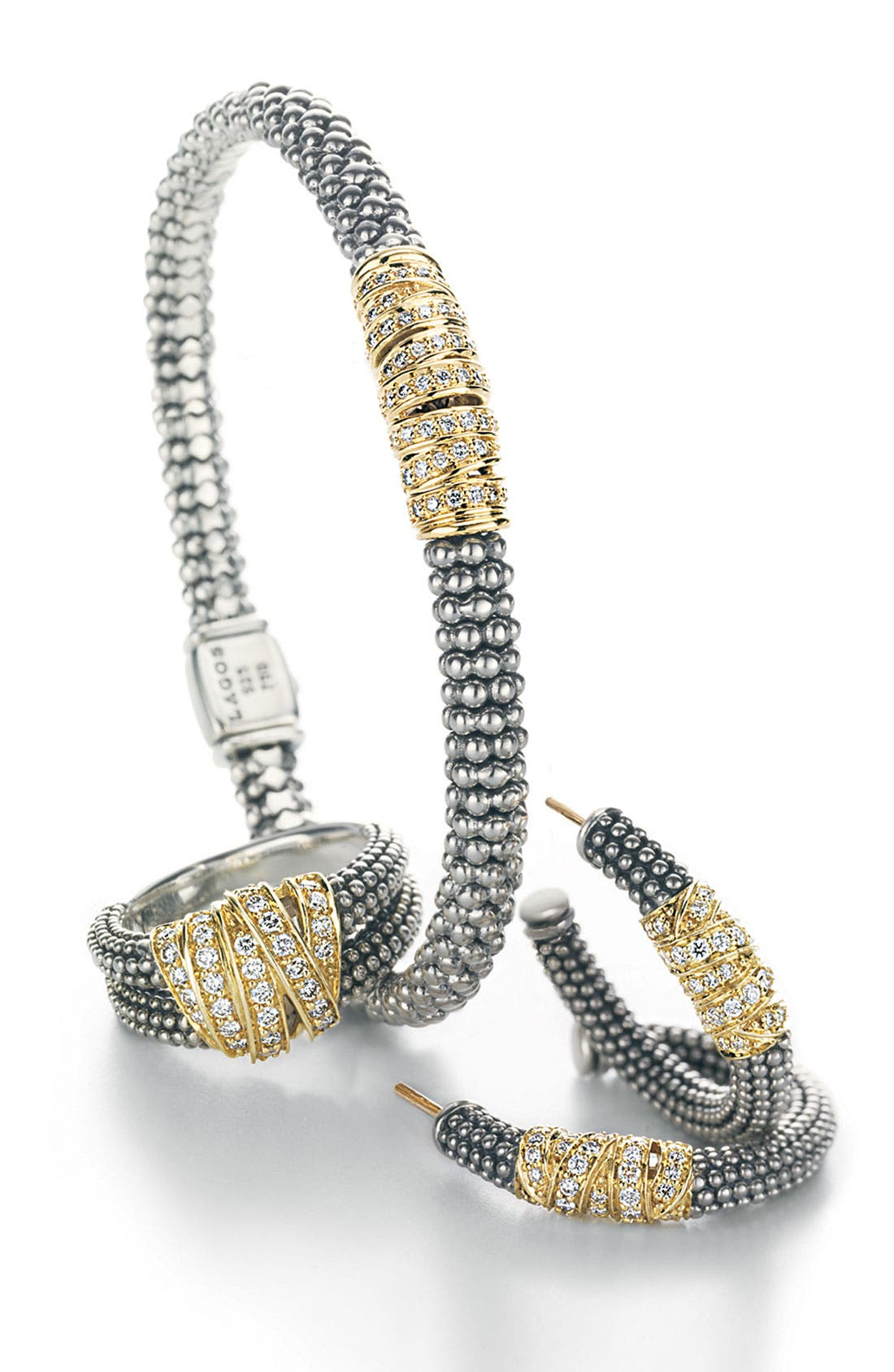 'Embrace' Caviar Diamond Hoop Earrings,                             Alternate thumbnail 3, color,