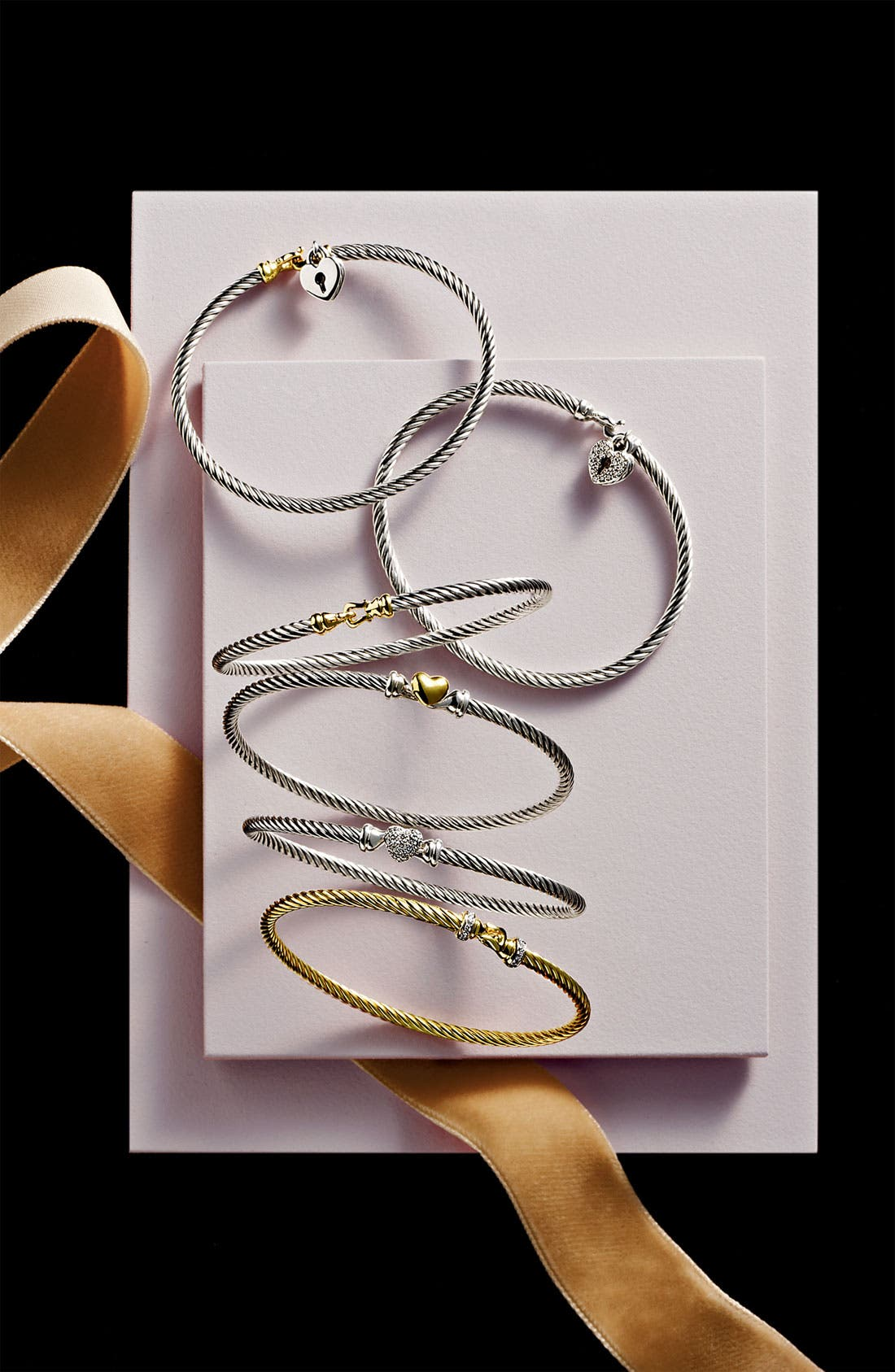 'Cable Collectibles' Diamond Heart Station Bracelet,                             Alternate thumbnail 3, color,