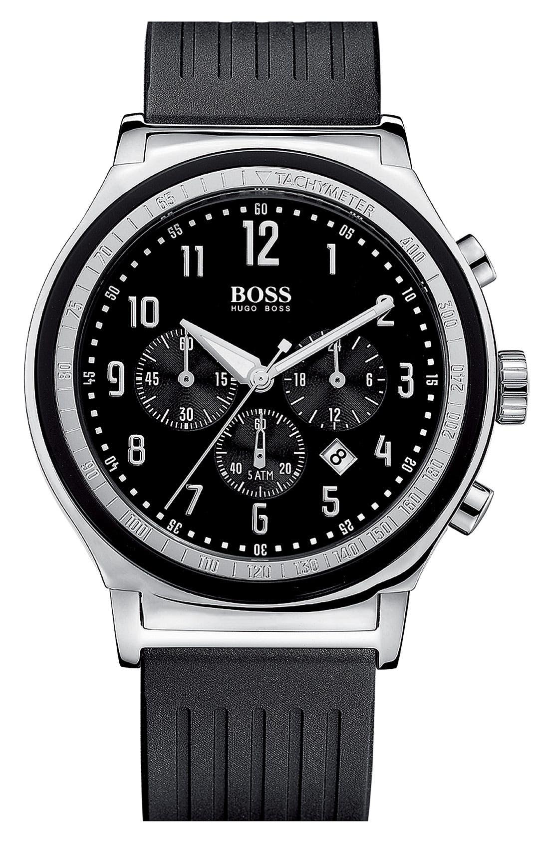 Main Image - BOSS HUGO BOSS Rubber Strap Chronograph Watch, 44mm