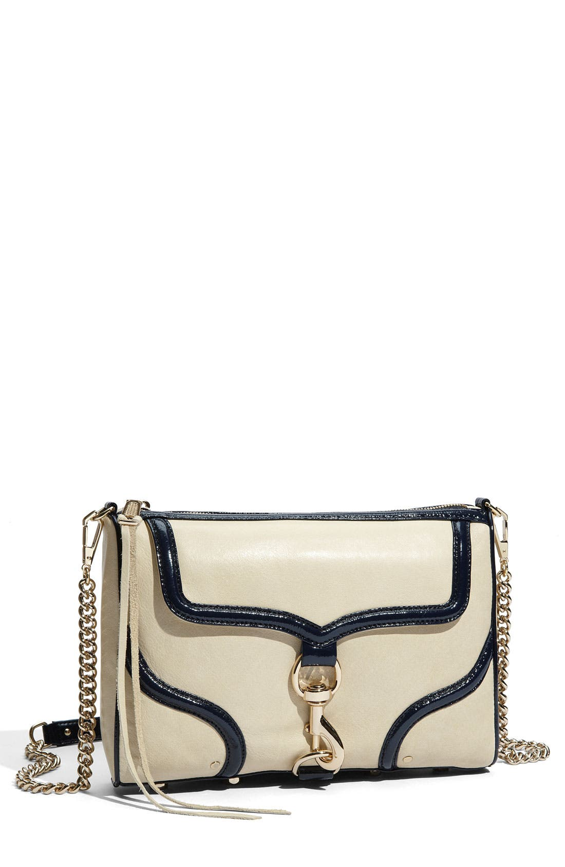 'Bombe MAC' Leather Crossbody Clutch,                             Main thumbnail 1, color,                             Ivory W/ Navy Trim