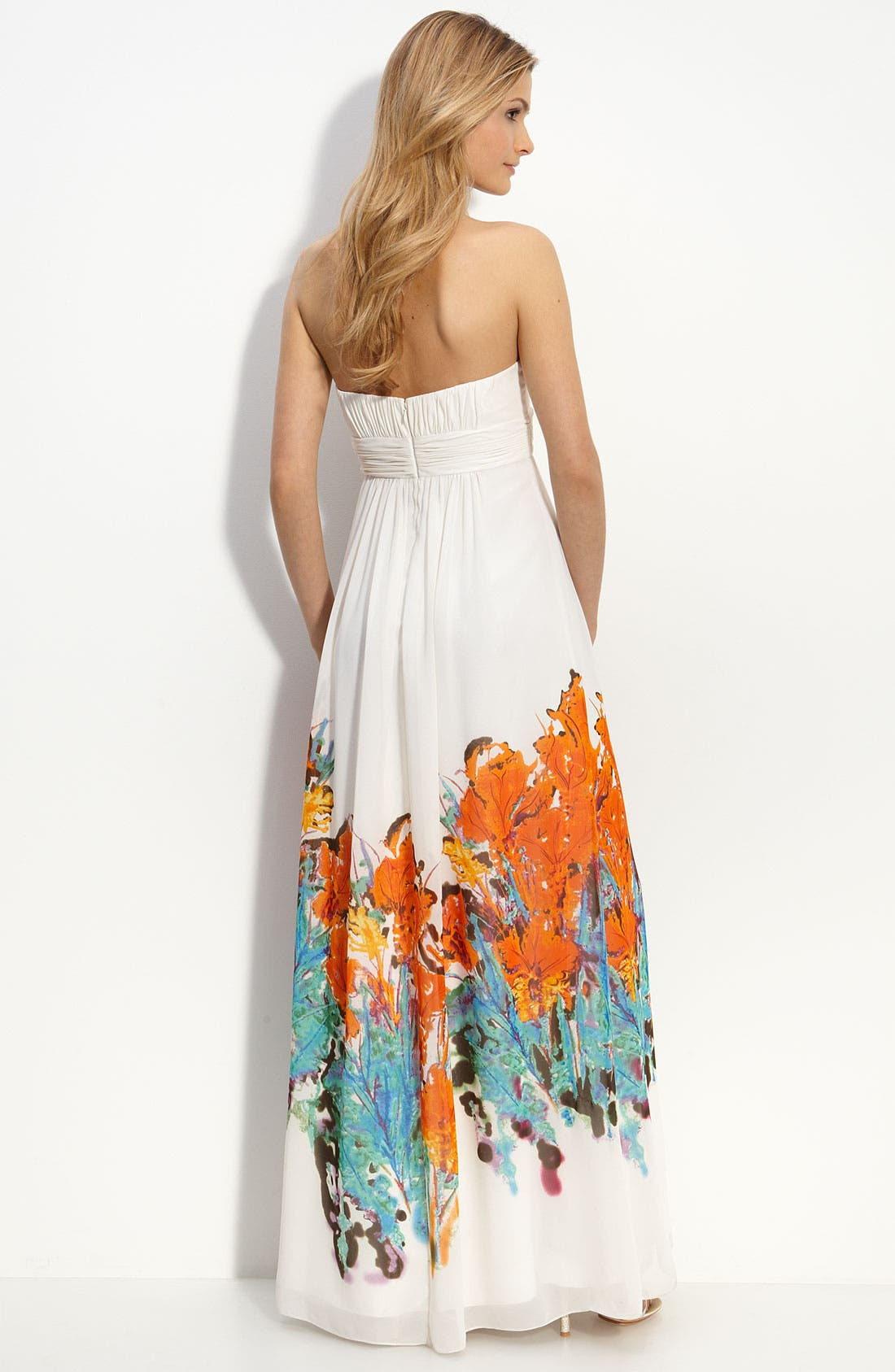 Alternate Image 2  - Aidan Mattox Border Print Strapless Chiffon Dress