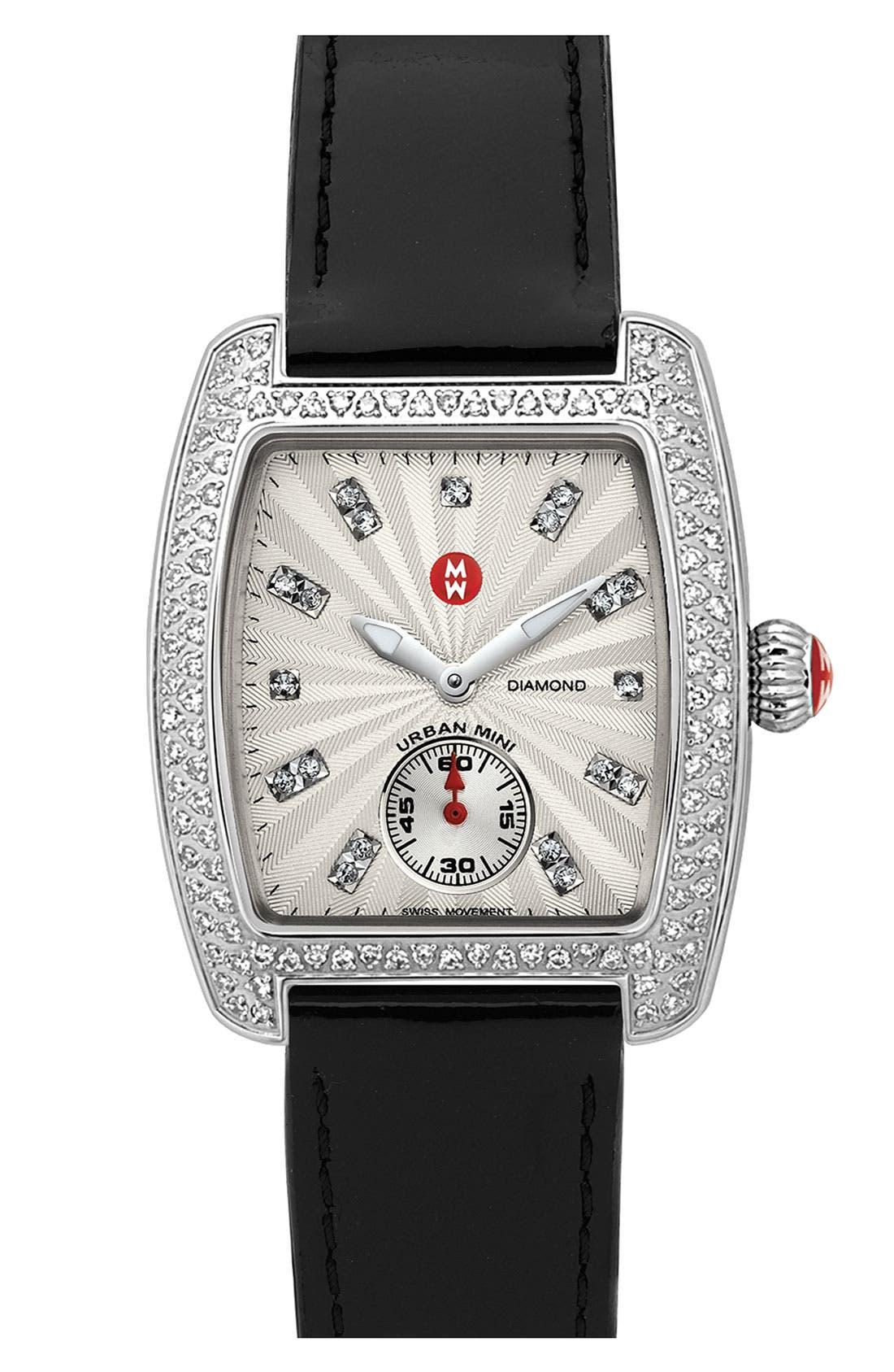 Main Image - MICHELE 'Urban Mini Diamond' Diamond Dial Watch Case & 16mm Black Patent Leather Strap