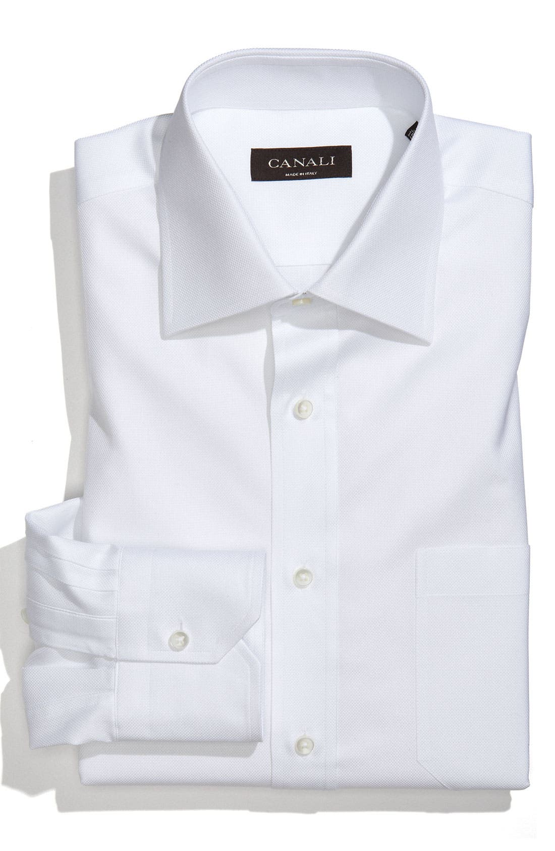 Main Image - Canali Men's Solid Cotton Regular Fit Dress Shirt