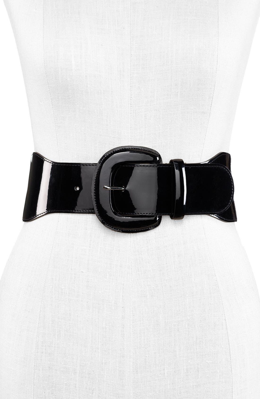 Lauren by Ralph Lauren Patent Stretch Belt,                         Main,                         color, Black
